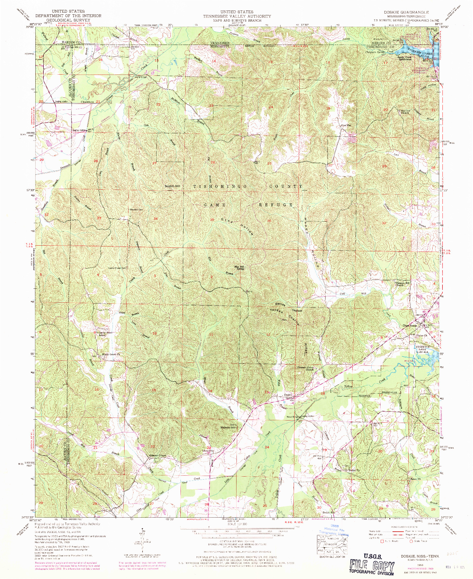 USGS 1:24000-SCALE QUADRANGLE FOR DOSKIE, MS 1950