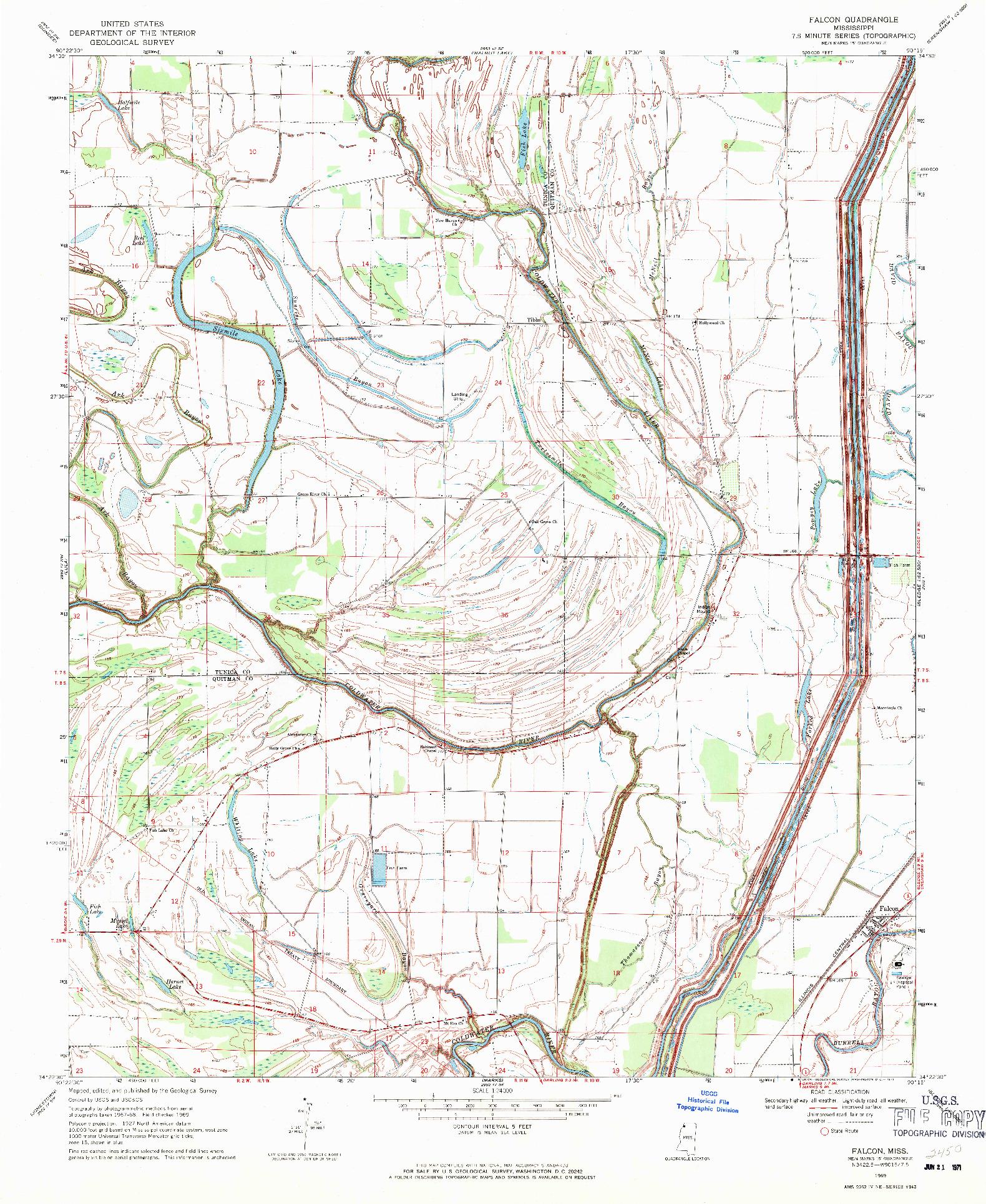 USGS 1:24000-SCALE QUADRANGLE FOR FALCON, MS 1969