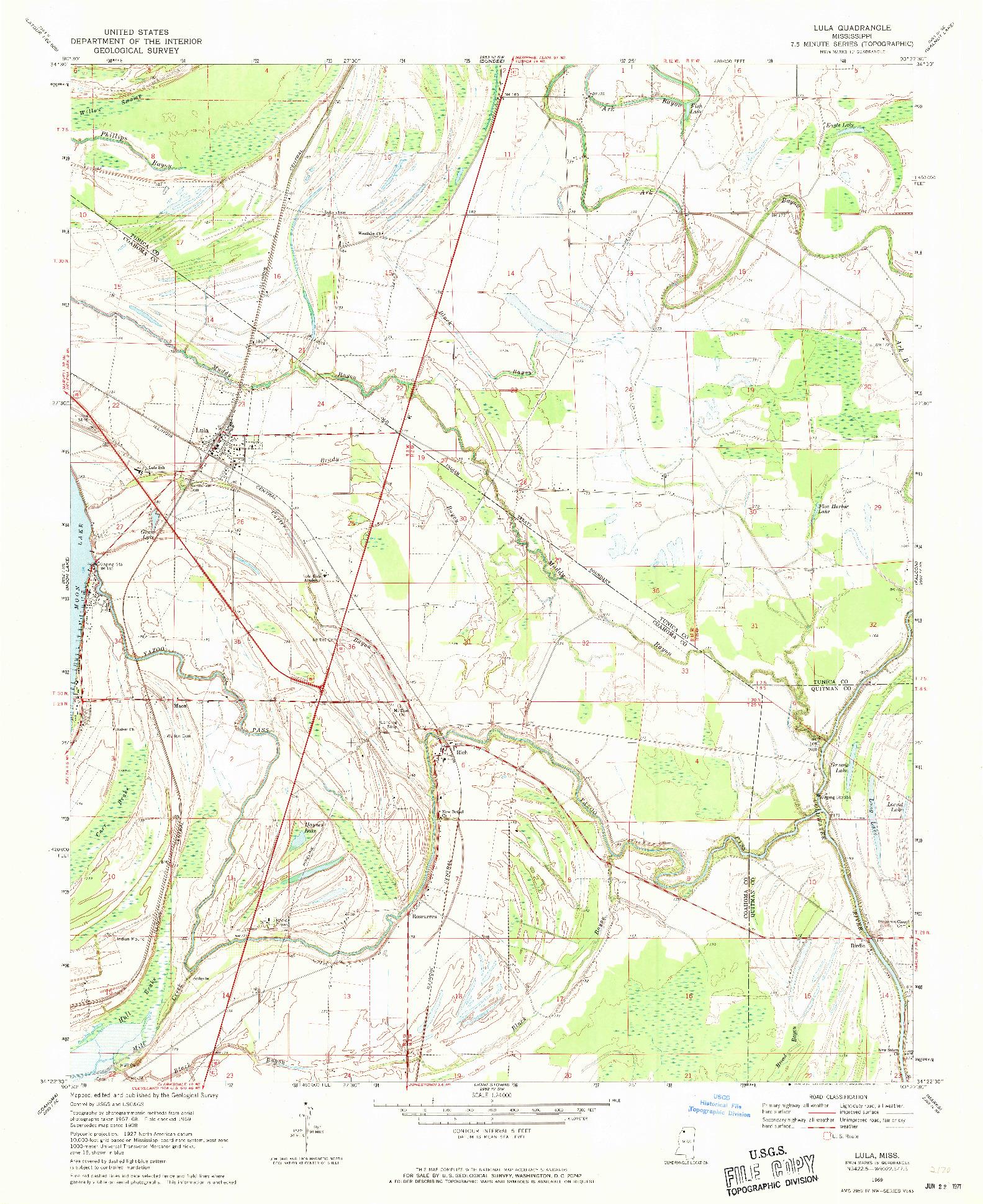 USGS 1:24000-SCALE QUADRANGLE FOR LULA, MS 1969