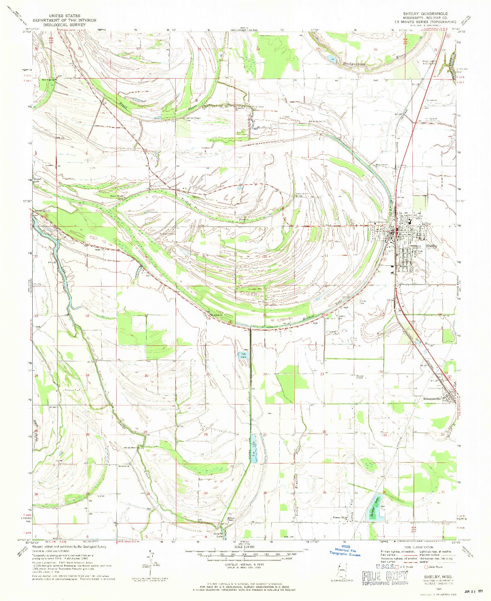 USGS 1:24000-SCALE QUADRANGLE FOR SHELBY, MS 1969