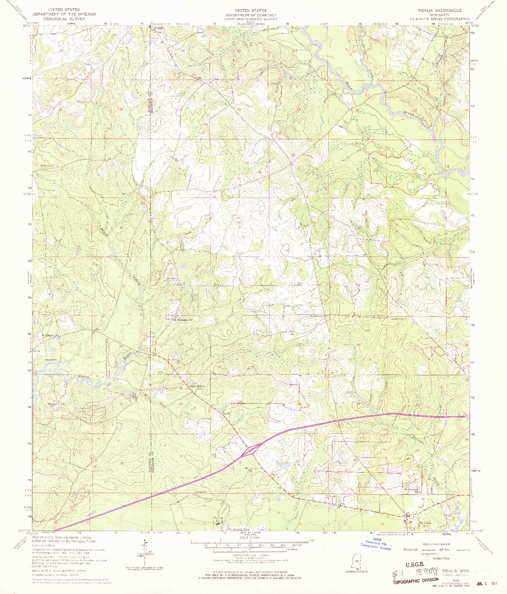 USGS 1:24000-SCALE QUADRANGLE FOR VIDALIA, MS 1956