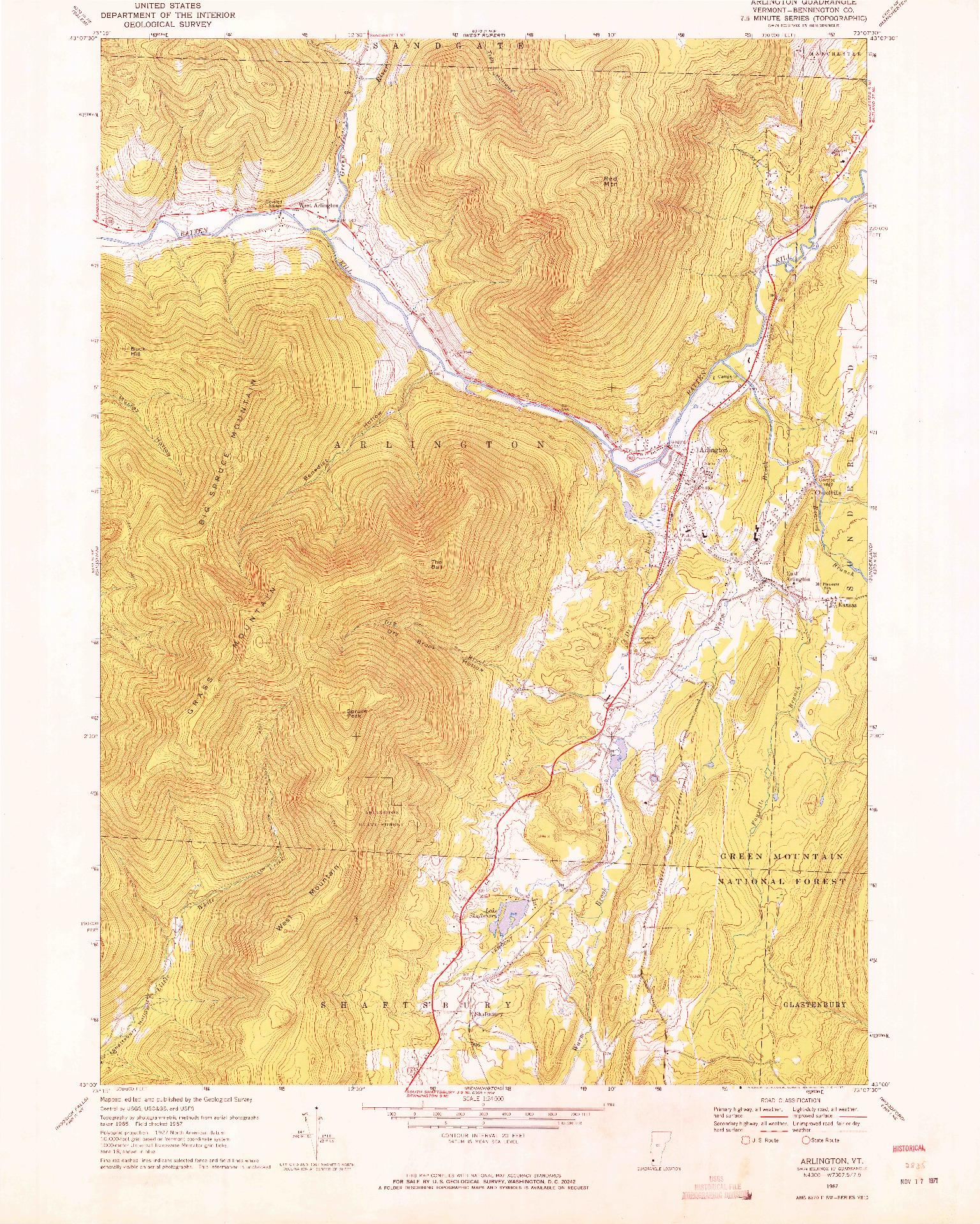 USGS 1:24000-SCALE QUADRANGLE FOR ARLINGTON, VT 1967