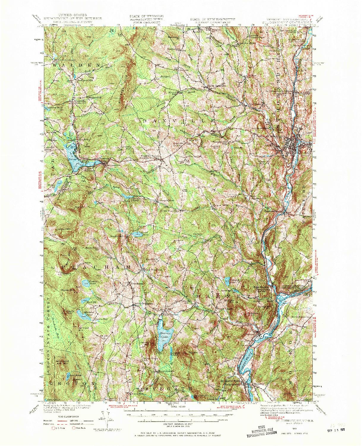 USGS 1:62500-SCALE QUADRANGLE FOR ST. JOHNSBURY, VT 1949