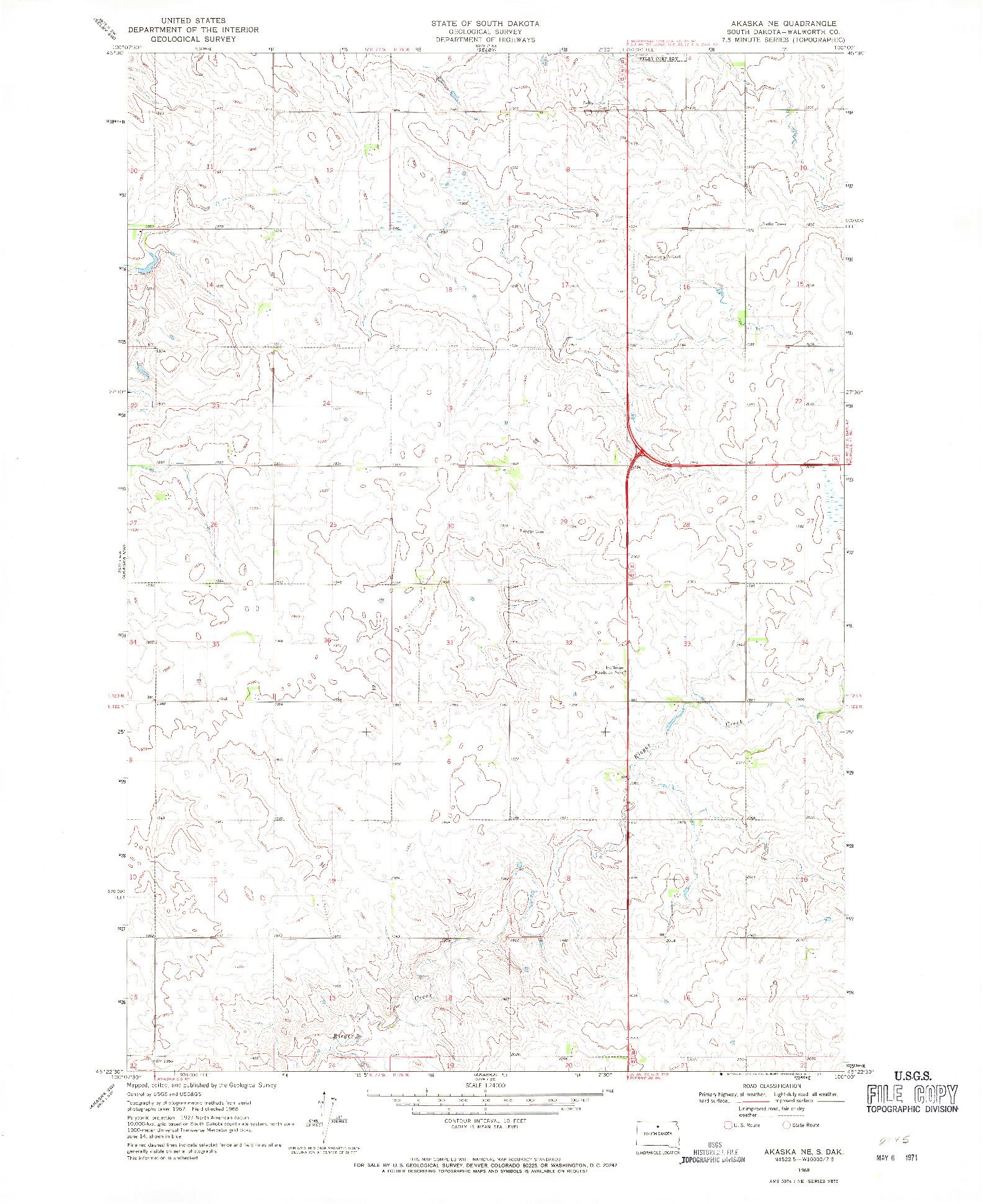 USGS 1:24000-SCALE QUADRANGLE FOR AKASKA NE, SD 1968