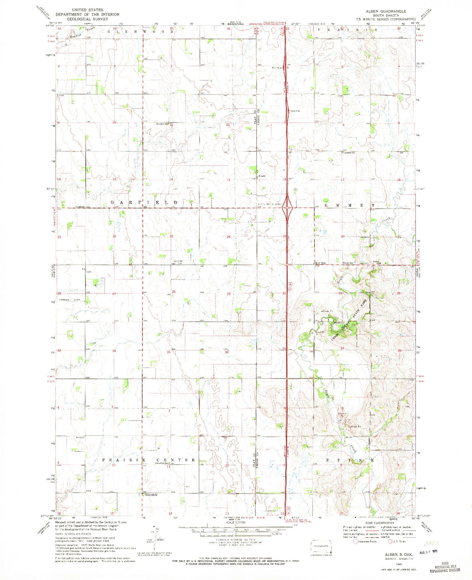 USGS 1:24000-SCALE QUADRANGLE FOR ALSEN, SD 1969