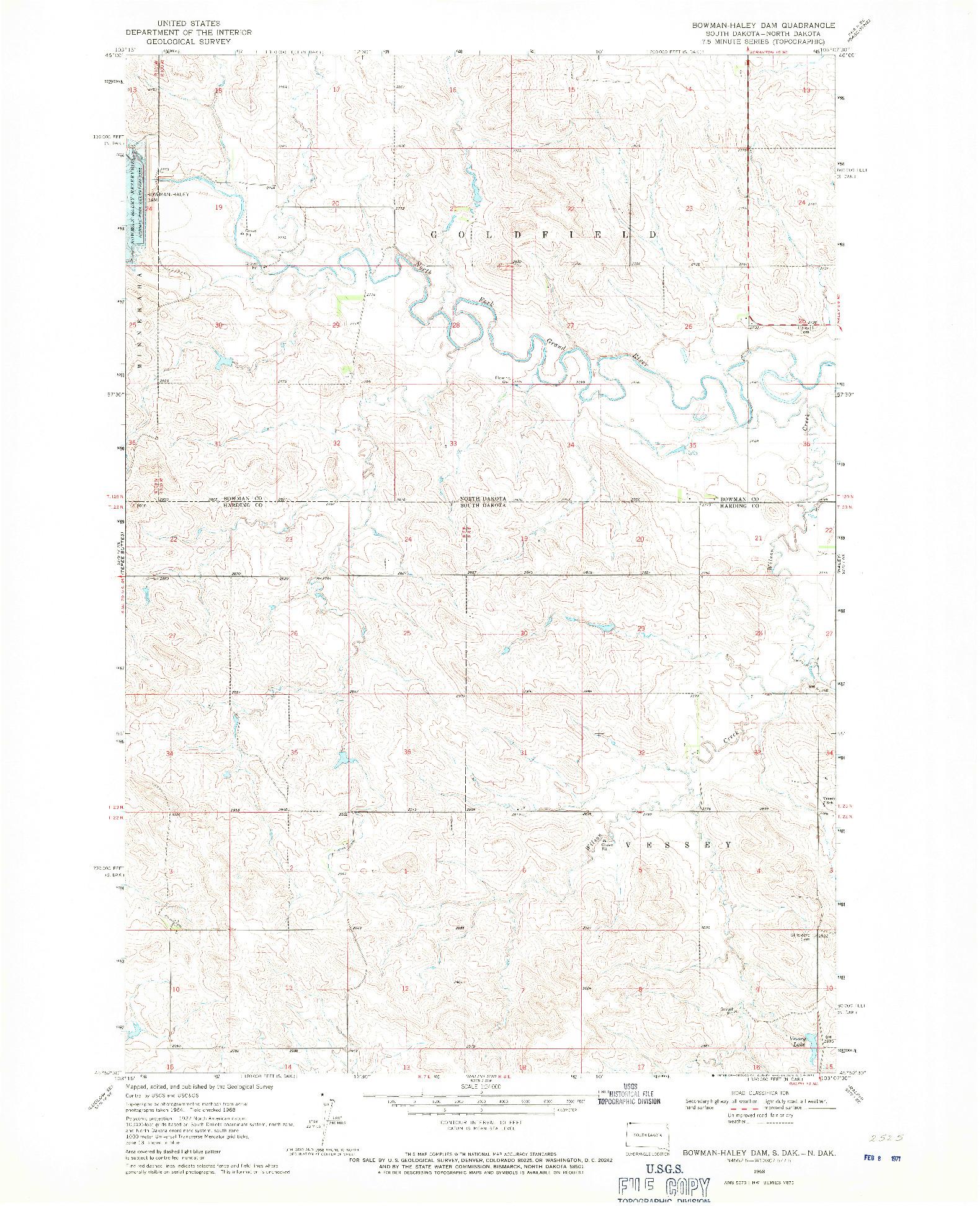 USGS 1:24000-SCALE QUADRANGLE FOR BOWMAN-HALEY DAM, SD 1968
