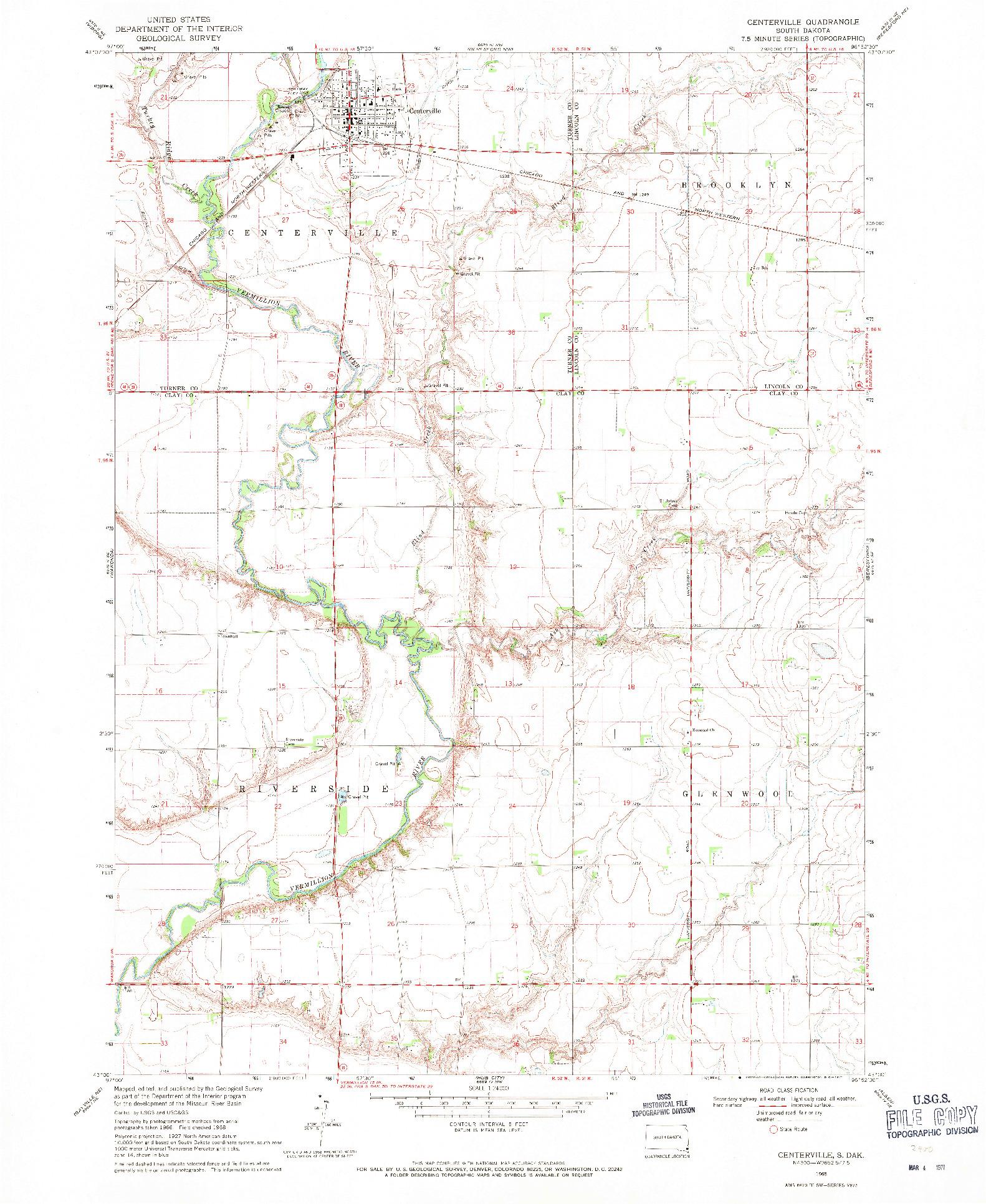 USGS 1:24000-SCALE QUADRANGLE FOR CENTERVILLE, SD 1968