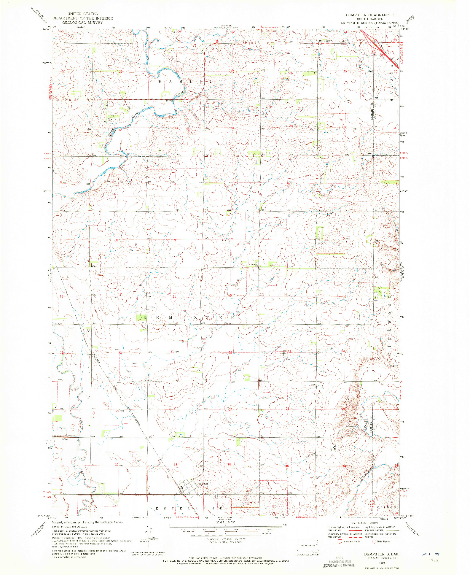 USGS 1:24000-SCALE QUADRANGLE FOR DEMPSTER, SD 1969