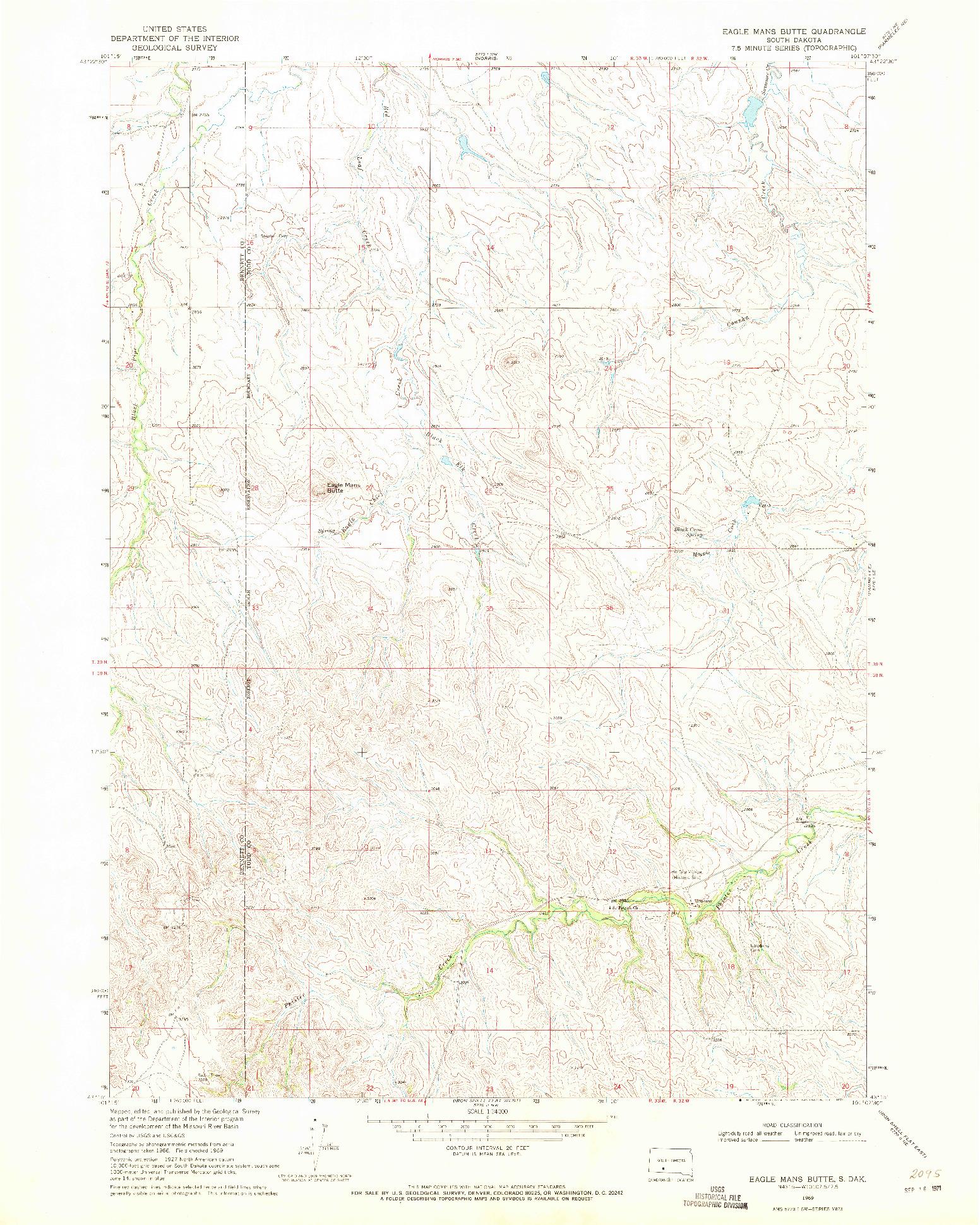 USGS 1:24000-SCALE QUADRANGLE FOR EAGLE MANS BUTTE, SD 1969