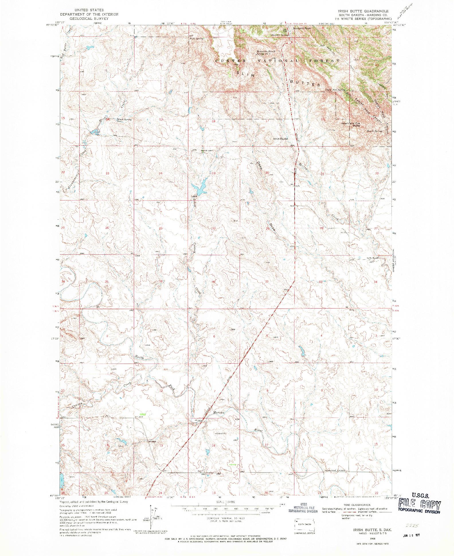 USGS 1:24000-SCALE QUADRANGLE FOR IRISH BUTTE, SD 1968