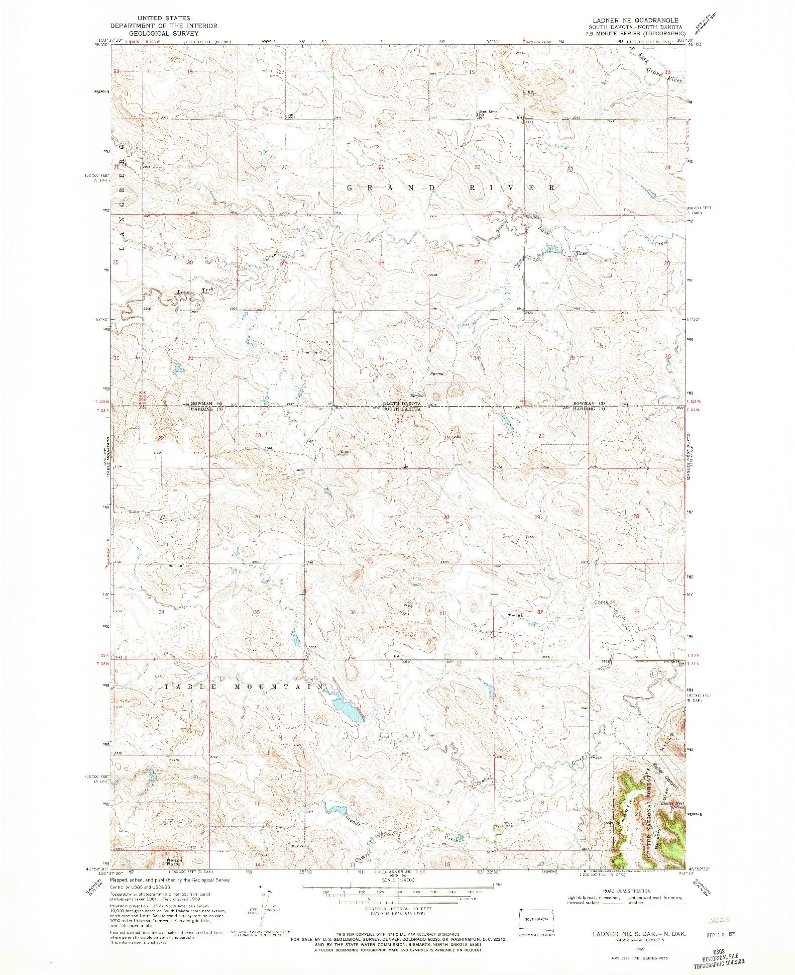 USGS 1:24000-SCALE QUADRANGLE FOR LADNER NE, SD 1969