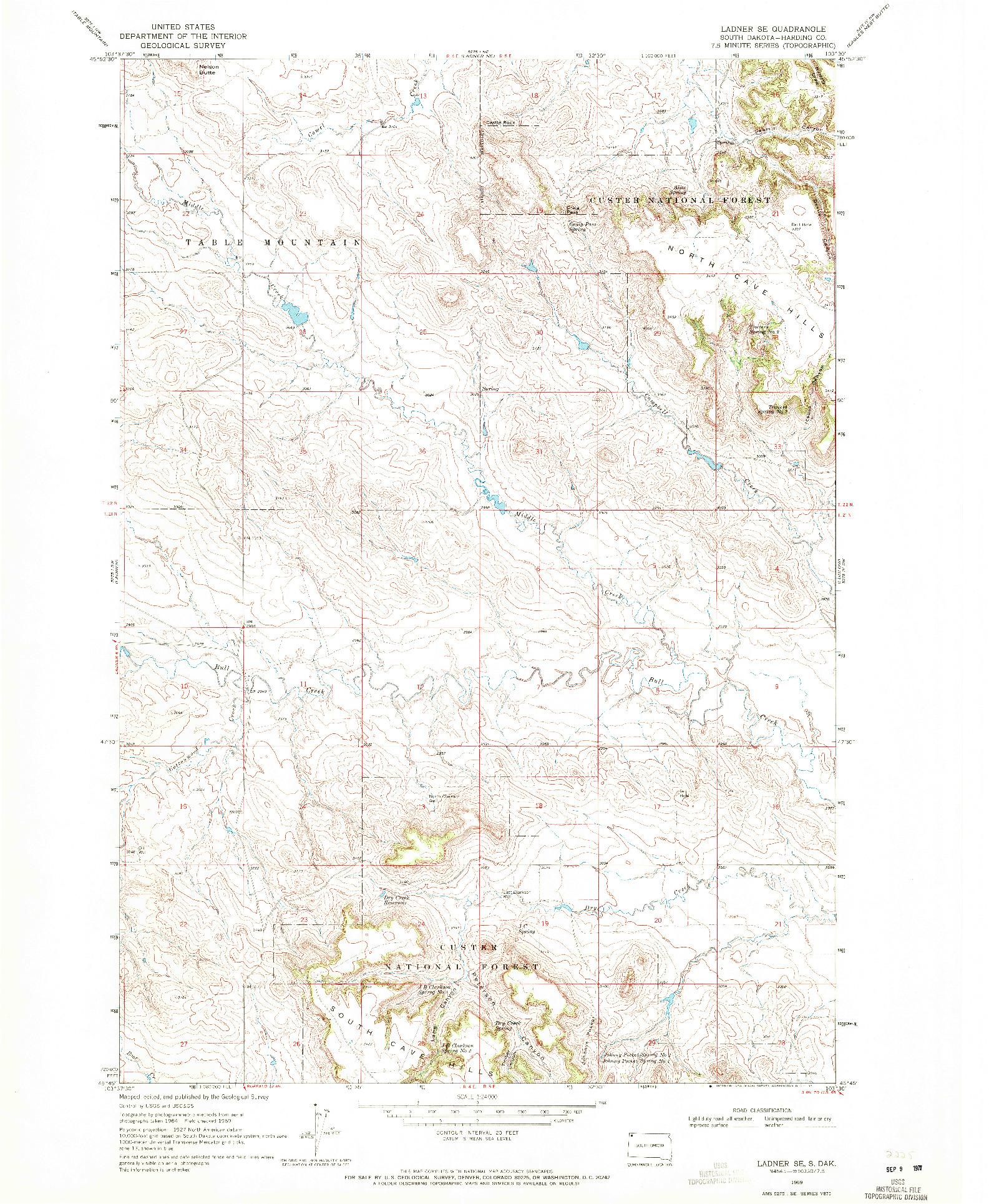 USGS 1:24000-SCALE QUADRANGLE FOR LADNER SE, SD 1969
