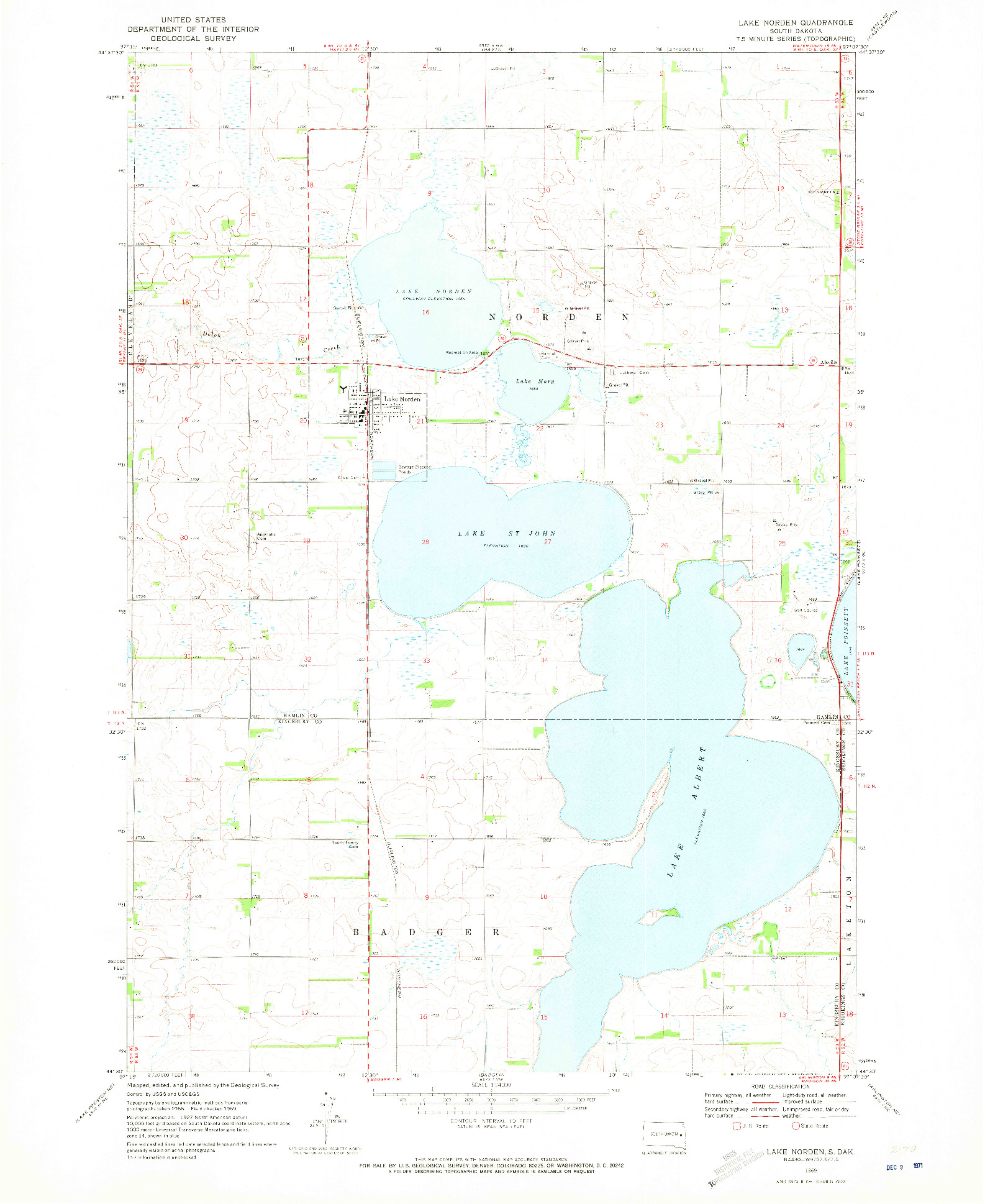 USGS 1:24000-SCALE QUADRANGLE FOR LAKE NORDEN, SD 1969
