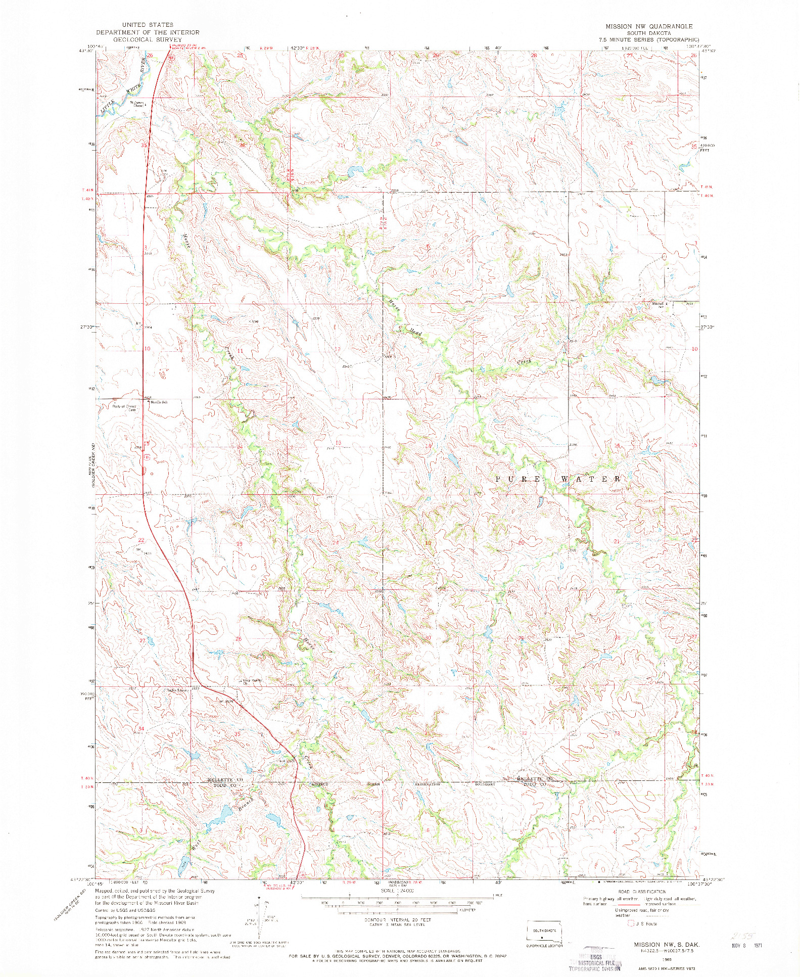 USGS 1:24000-SCALE QUADRANGLE FOR MISSION NW, SD 1969