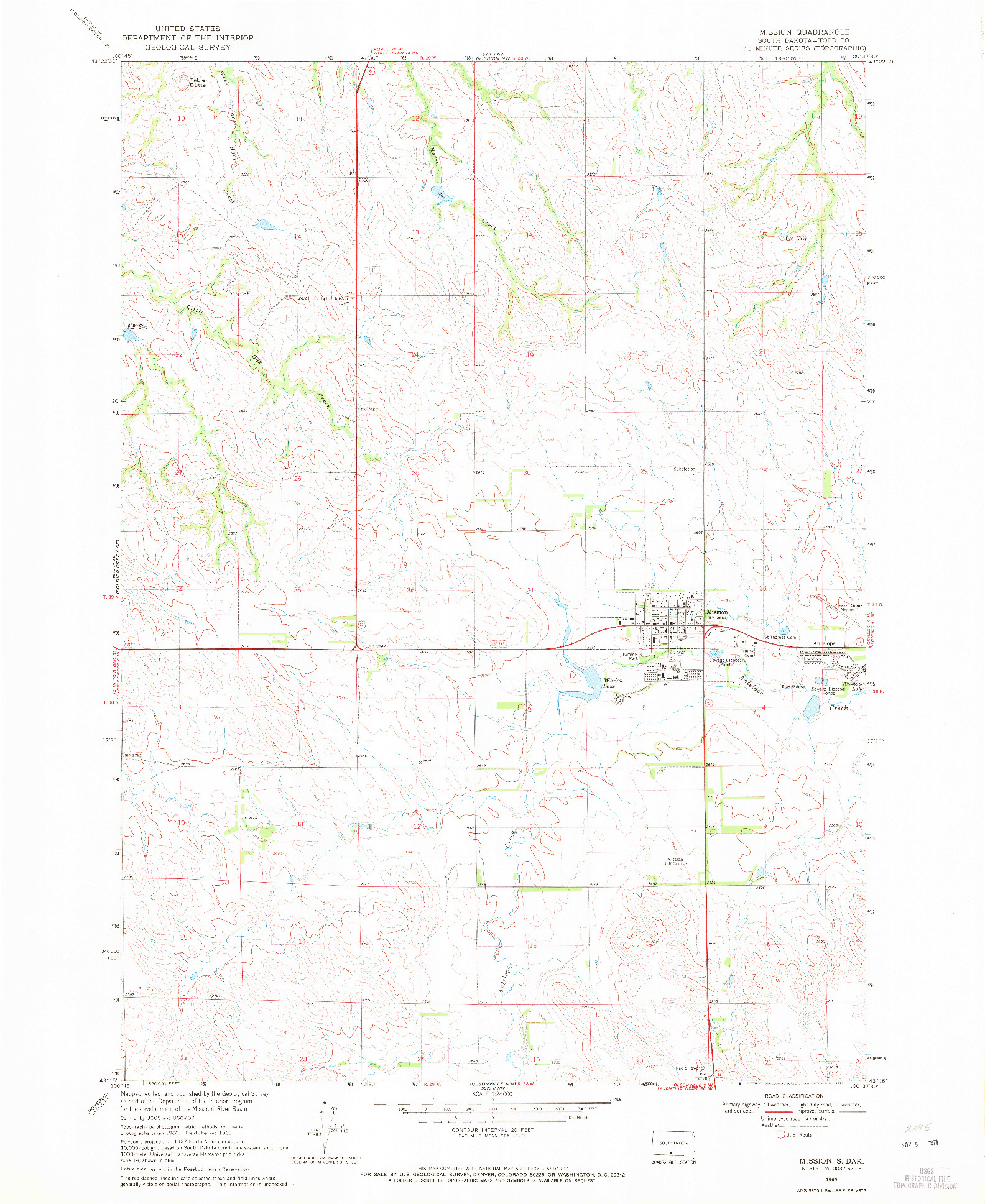 USGS 1:24000-SCALE QUADRANGLE FOR MISSION, SD 1969