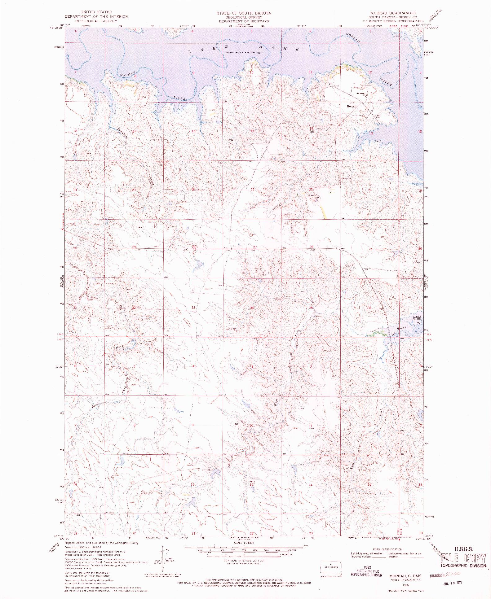 USGS 1:24000-SCALE QUADRANGLE FOR MOREAU, SD 1968