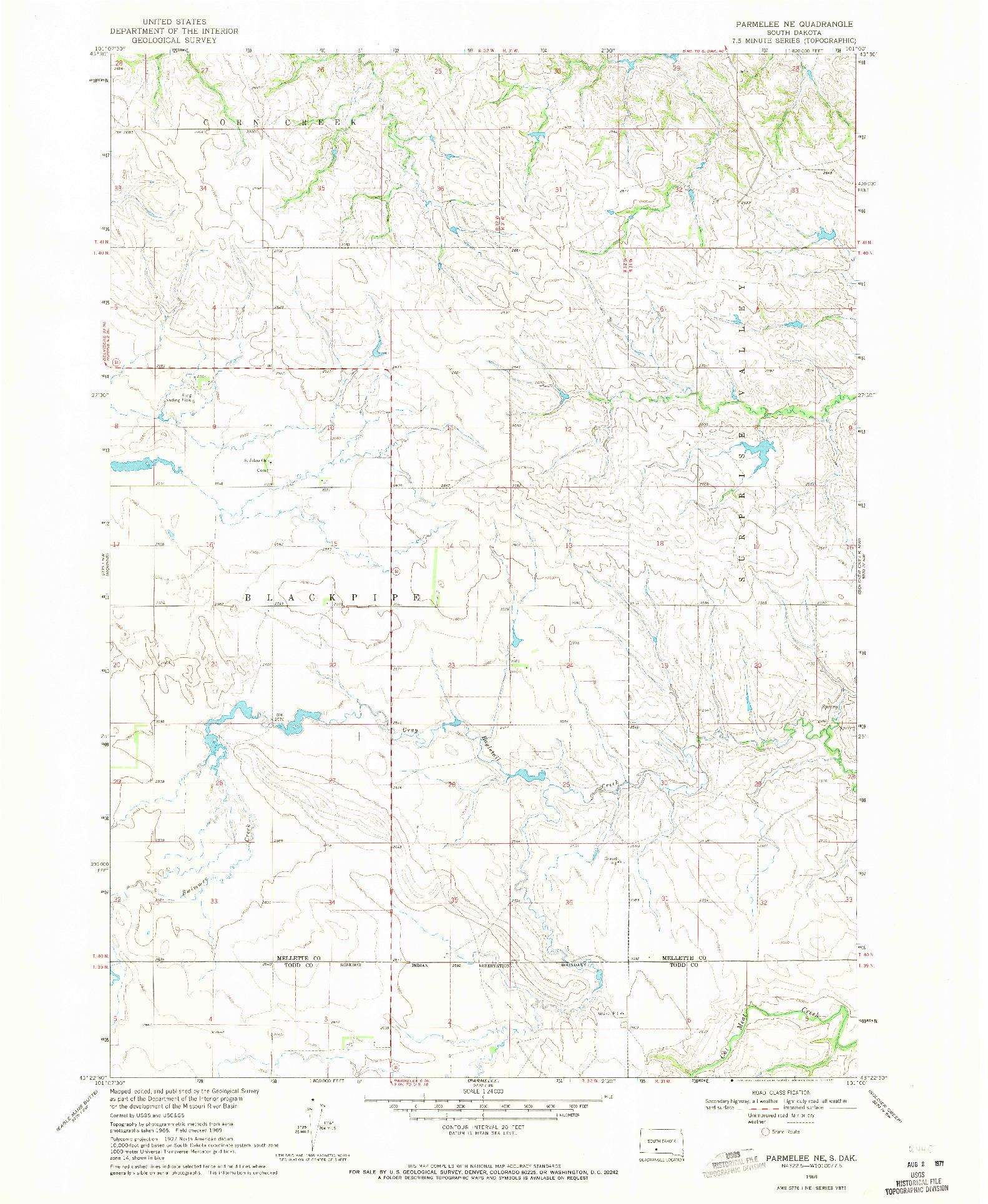 USGS 1:24000-SCALE QUADRANGLE FOR PARMELEE NE, SD 1969