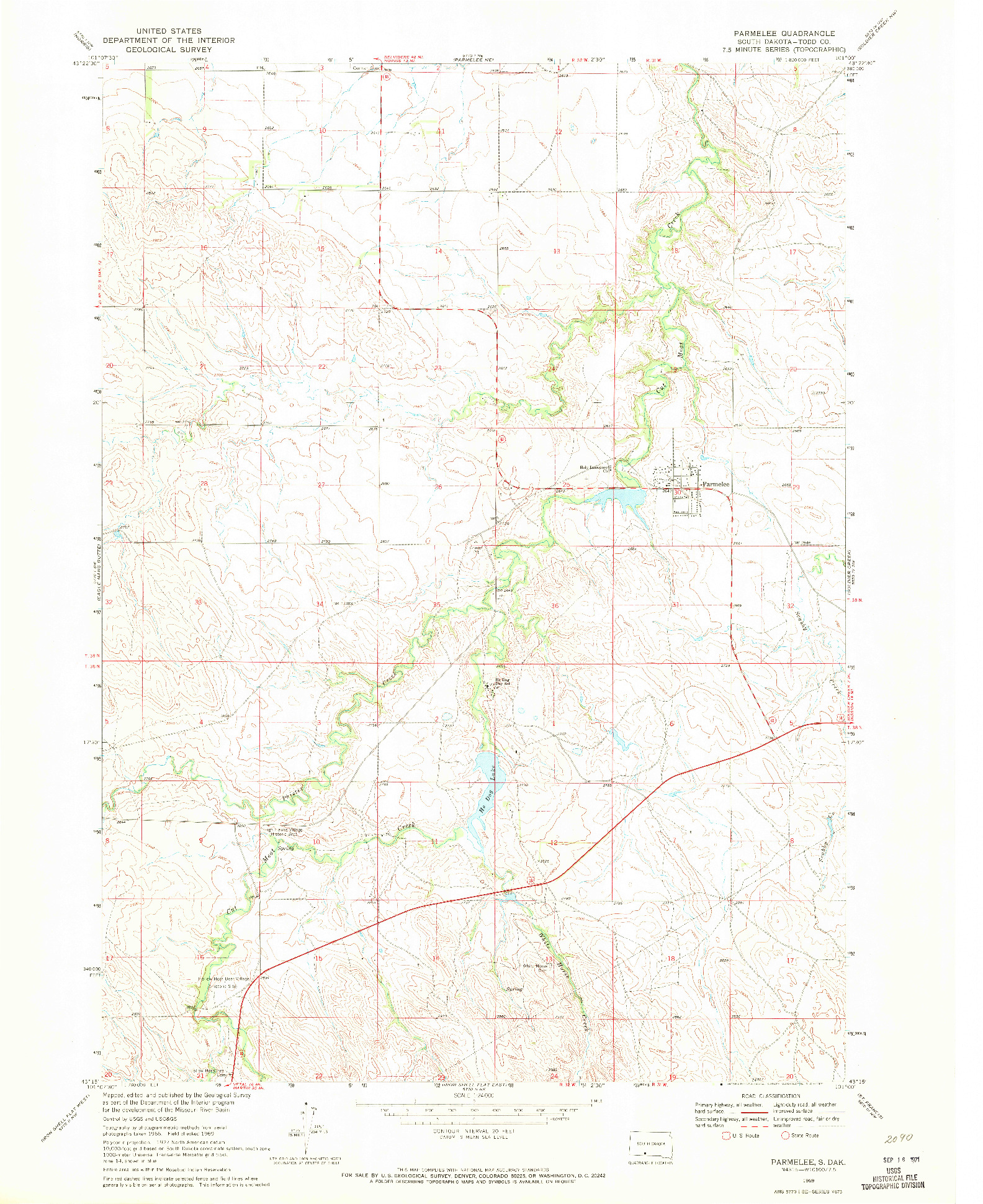 USGS 1:24000-SCALE QUADRANGLE FOR PARMELEE, SD 1969