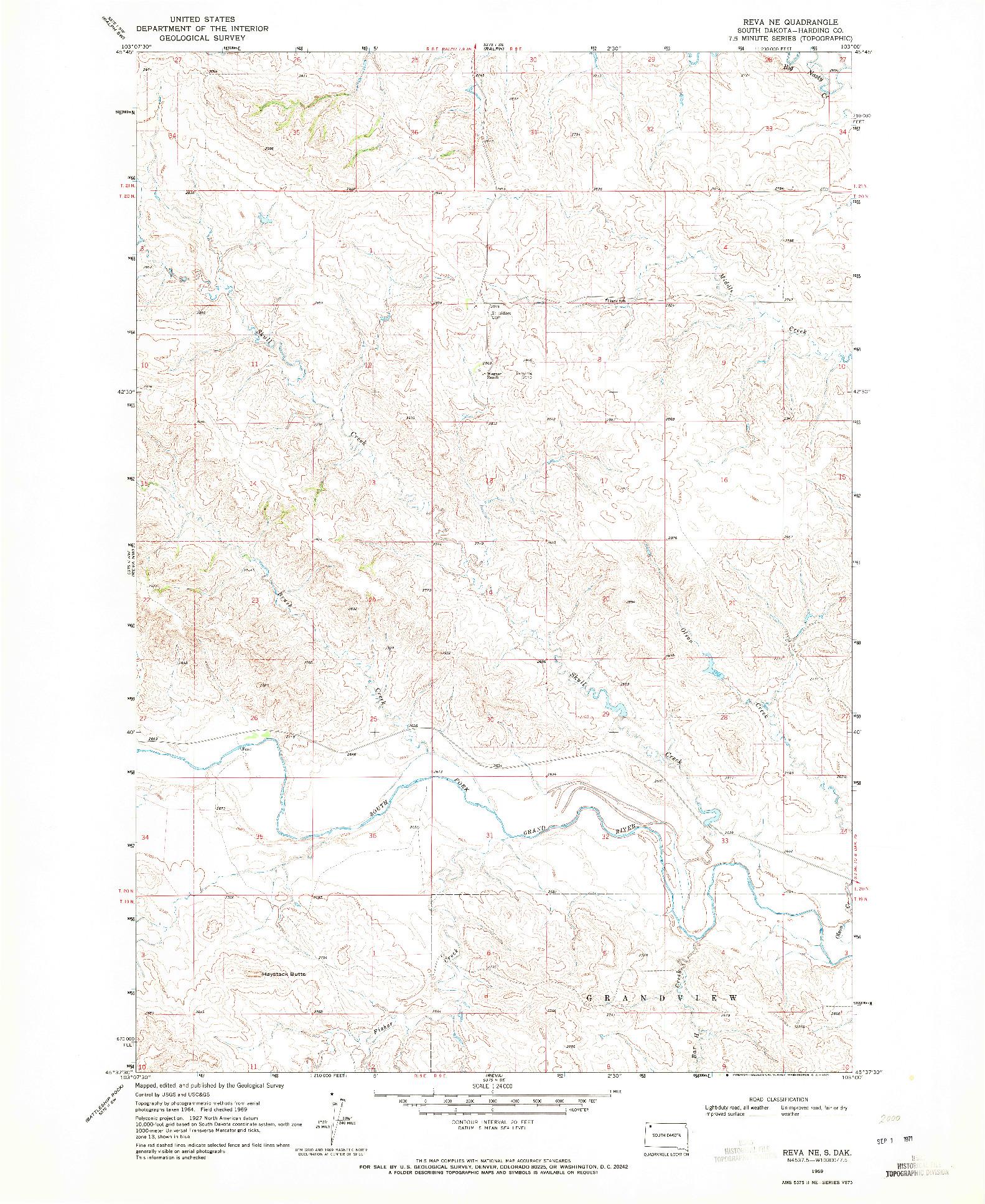 USGS 1:24000-SCALE QUADRANGLE FOR REVA NE, SD 1969