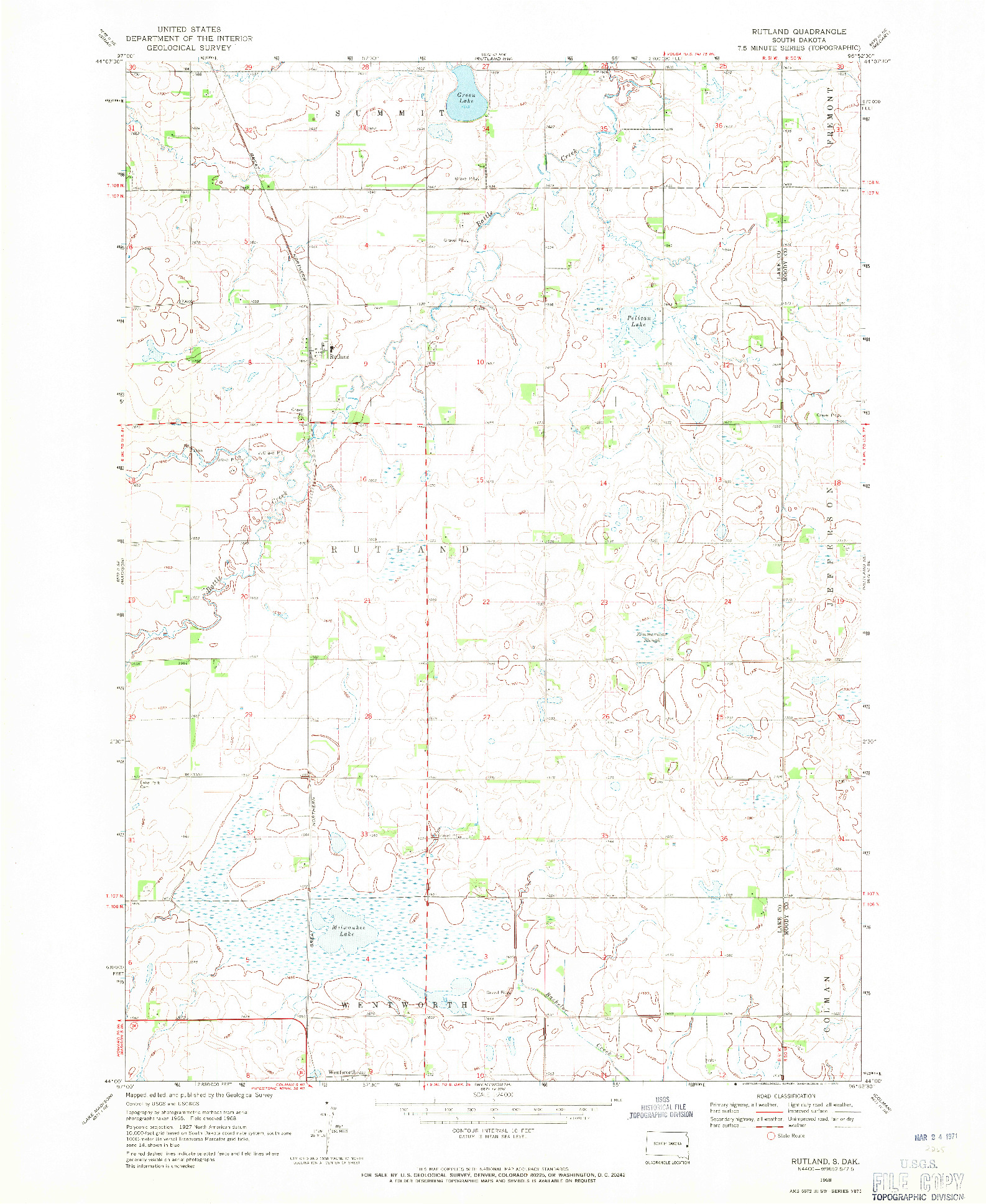 USGS 1:24000-SCALE QUADRANGLE FOR RUTLAND, SD 1968
