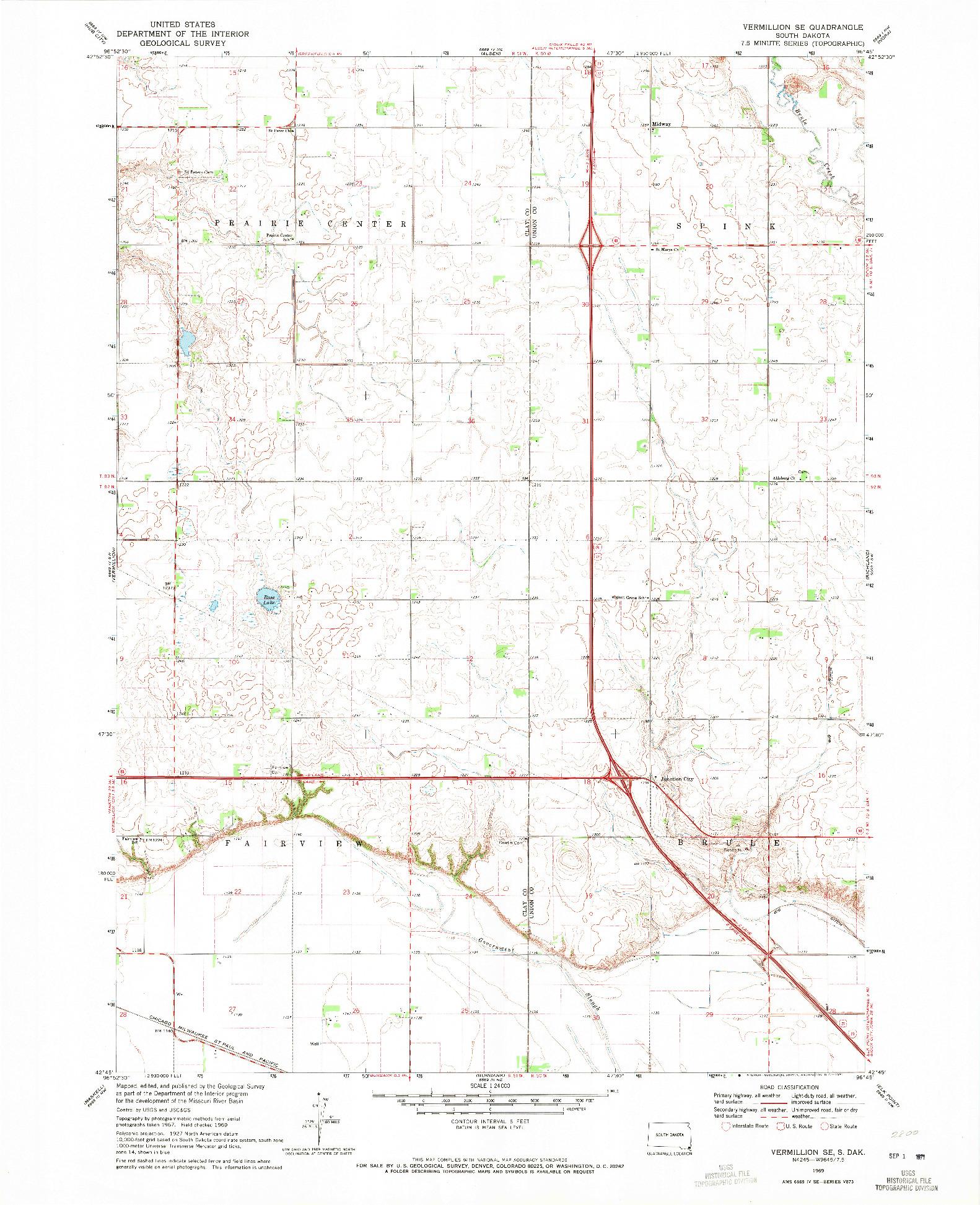 USGS 1:24000-SCALE QUADRANGLE FOR VERMILLION SE, SD 1969