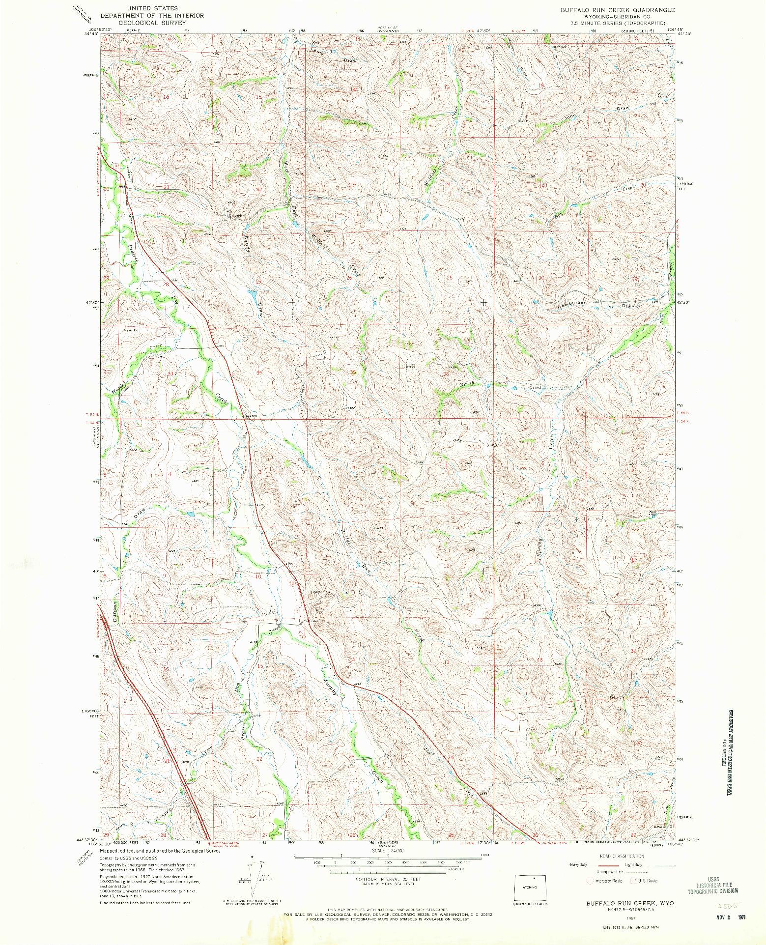 USGS 1:24000-SCALE QUADRANGLE FOR BUFFALO RUN CREEK, WY 1967