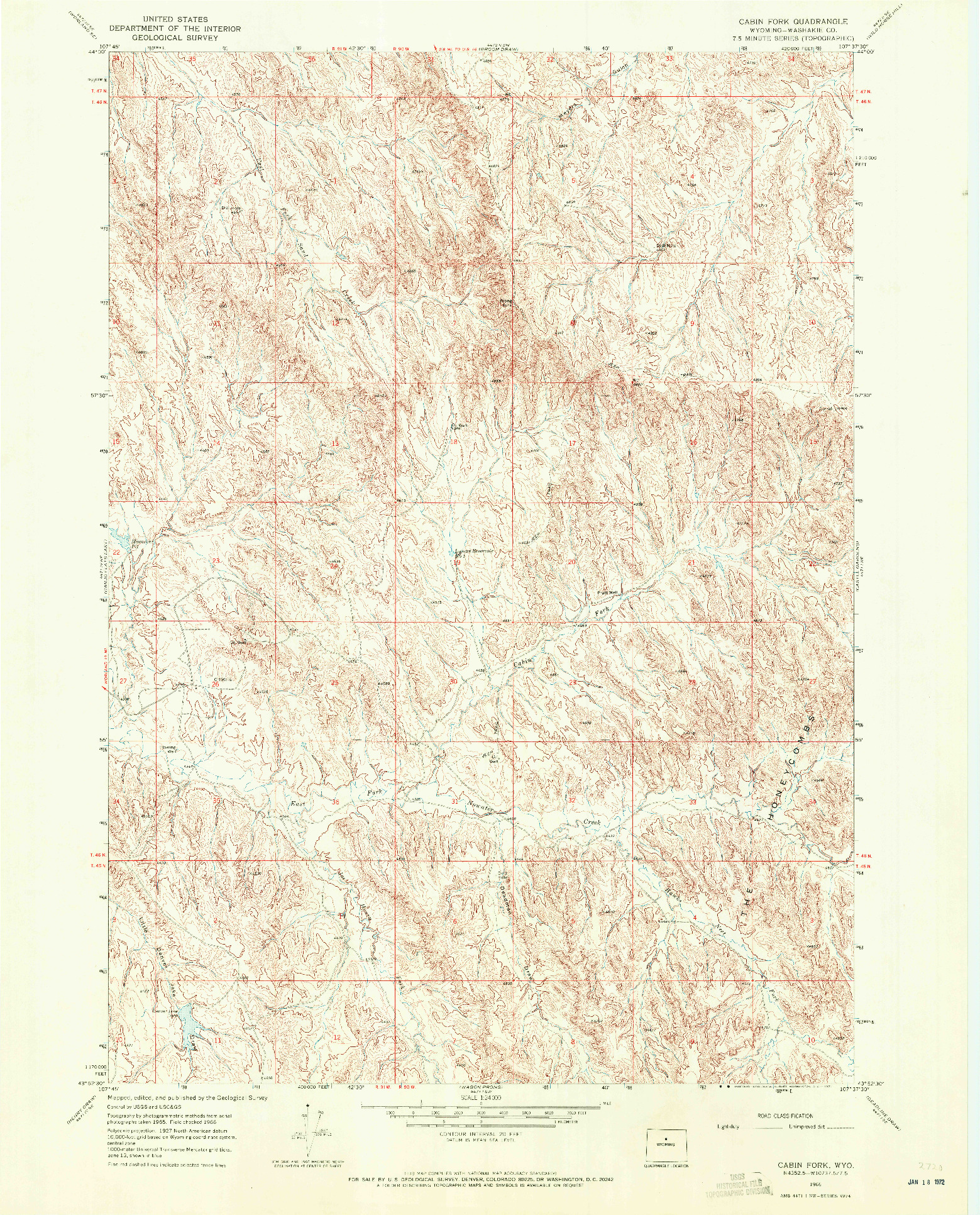 USGS 1:24000-SCALE QUADRANGLE FOR CABIN FORK, WY 1966