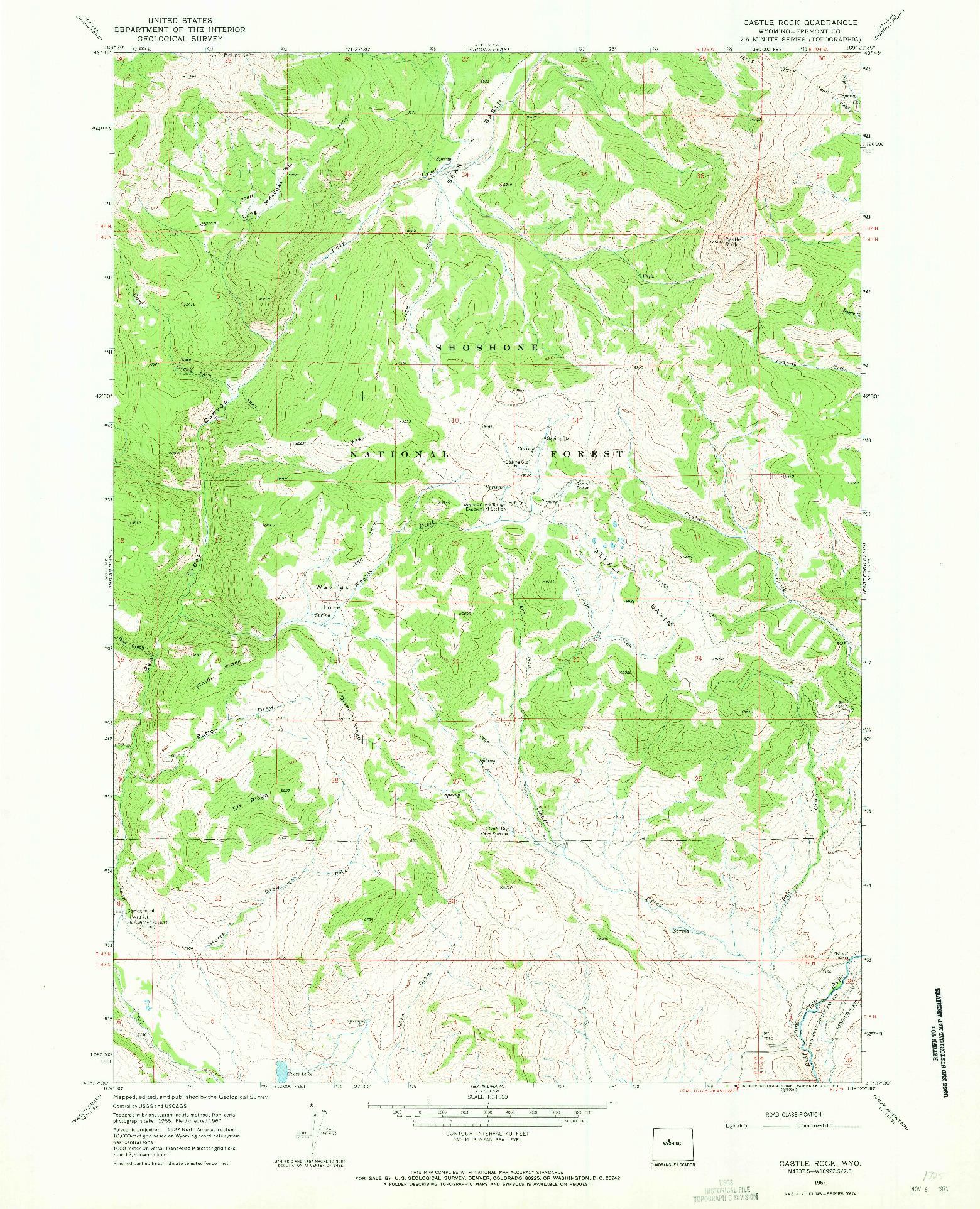 USGS 1:24000-SCALE QUADRANGLE FOR CASTLE ROCK, WY 1967