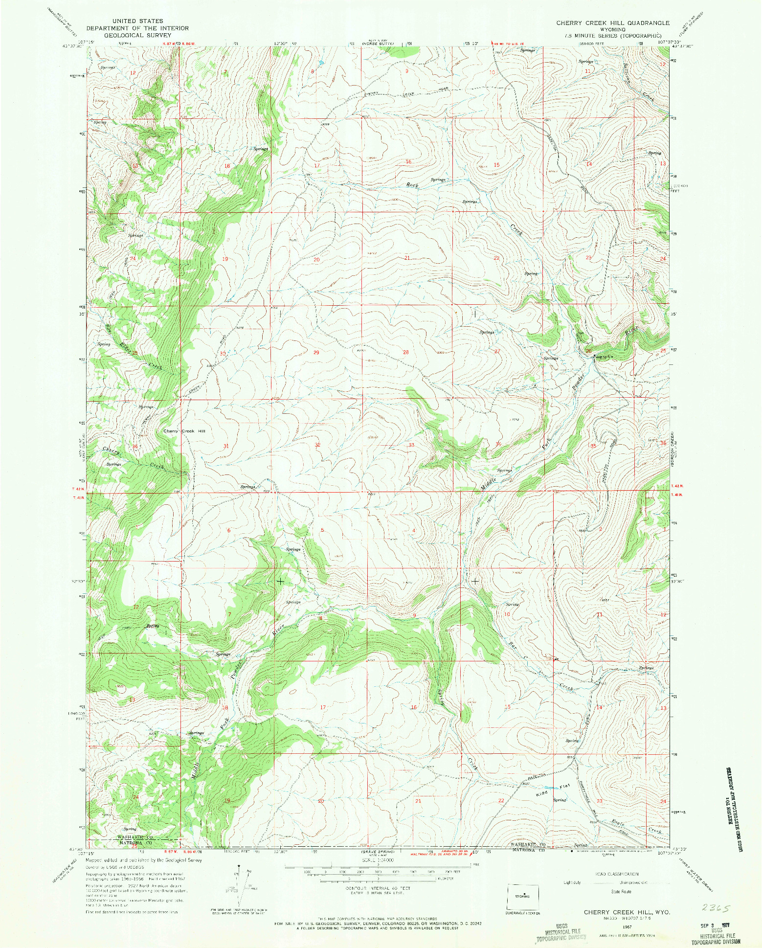 USGS 1:24000-SCALE QUADRANGLE FOR CHERRY CREEK HILL, WY 1967
