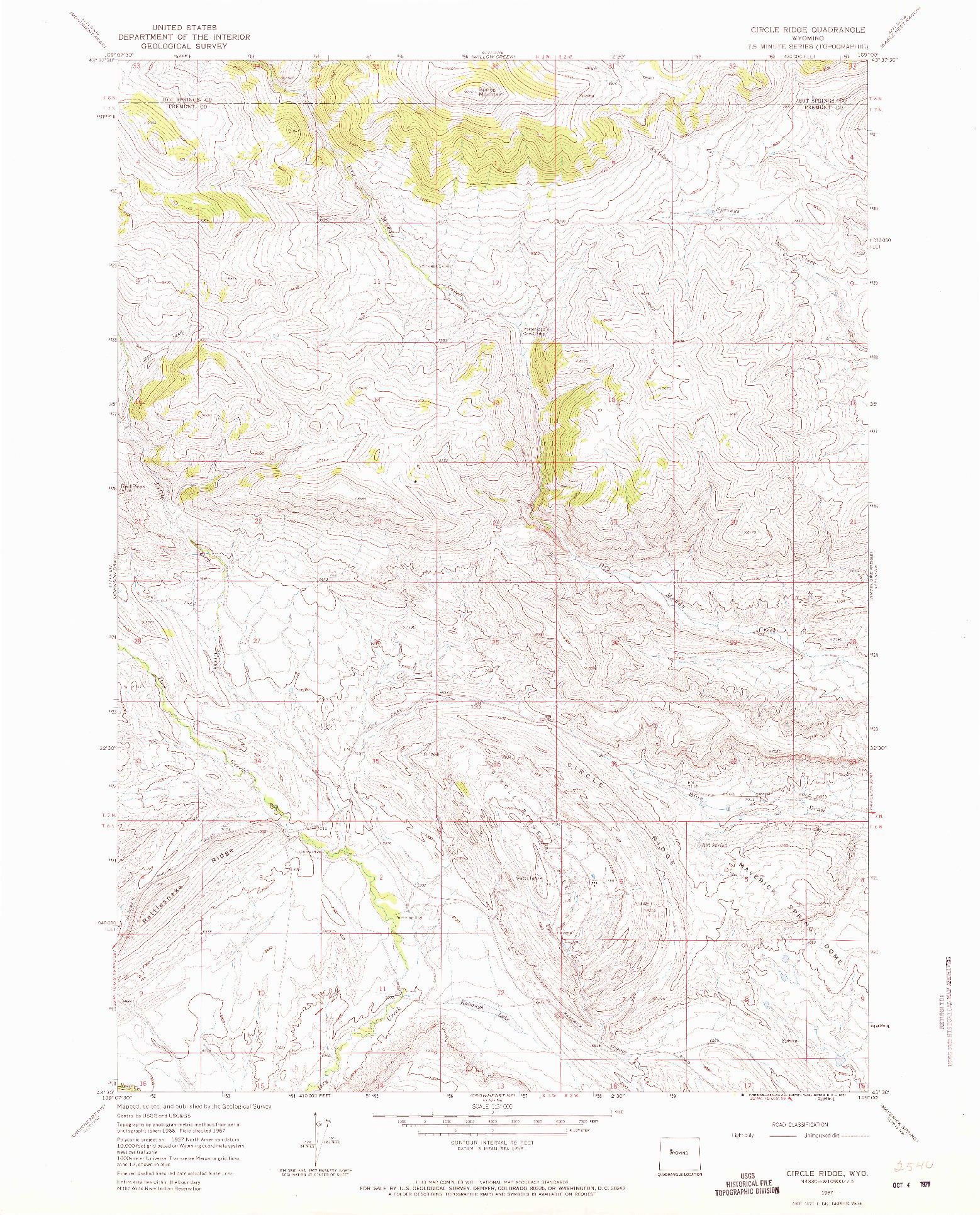 USGS 1:24000-SCALE QUADRANGLE FOR CIRCLE RIDGE, WY 1967