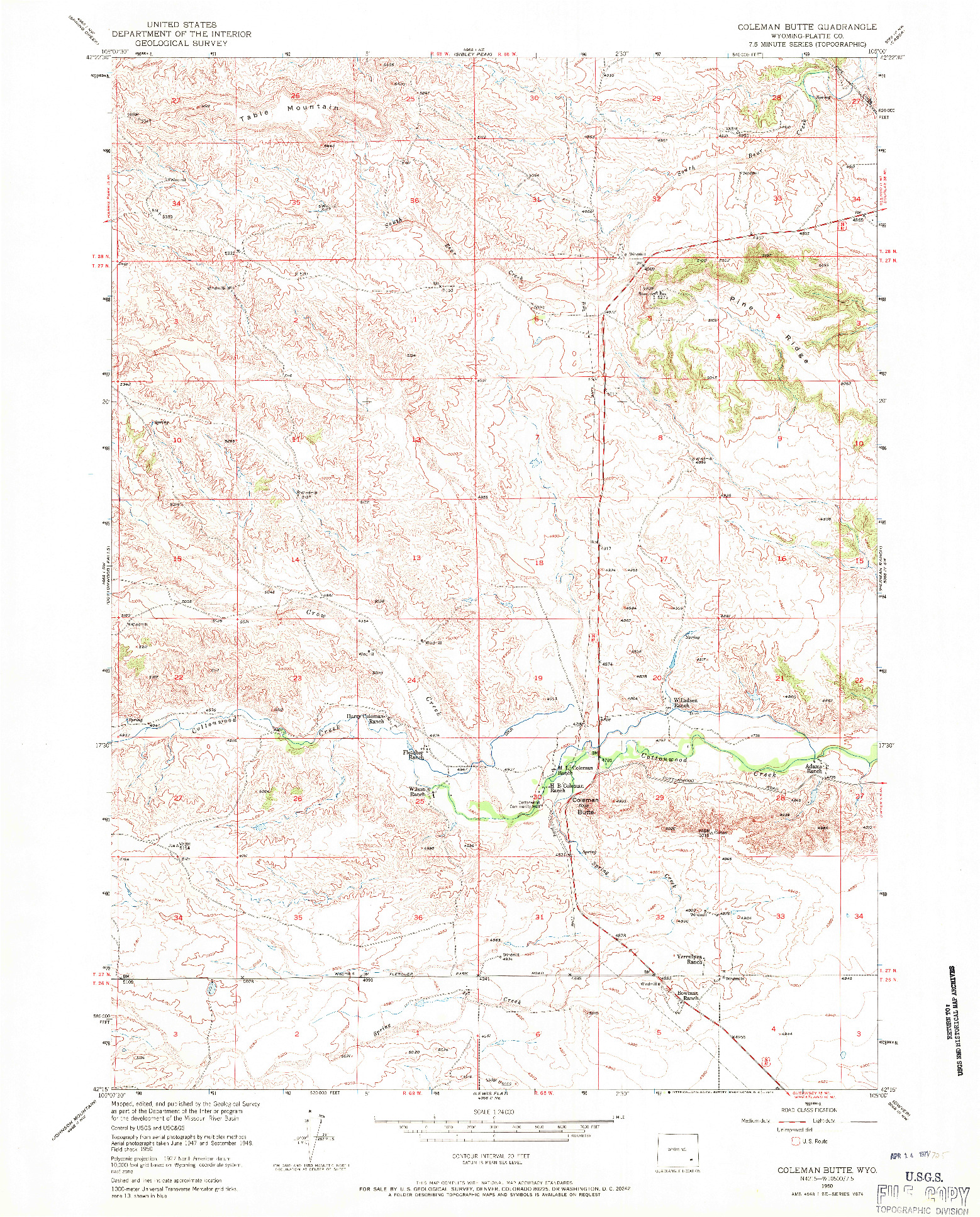 USGS 1:24000-SCALE QUADRANGLE FOR COLEMAN BUTTE, WY 1950