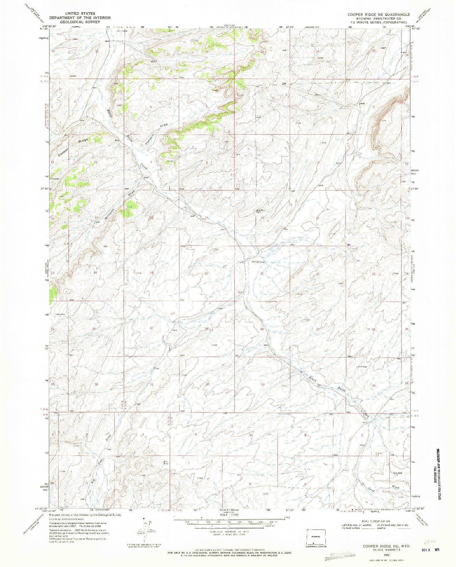 USGS 1:24000-SCALE QUADRANGLE FOR COOPER RIDGE NE, WY 1968