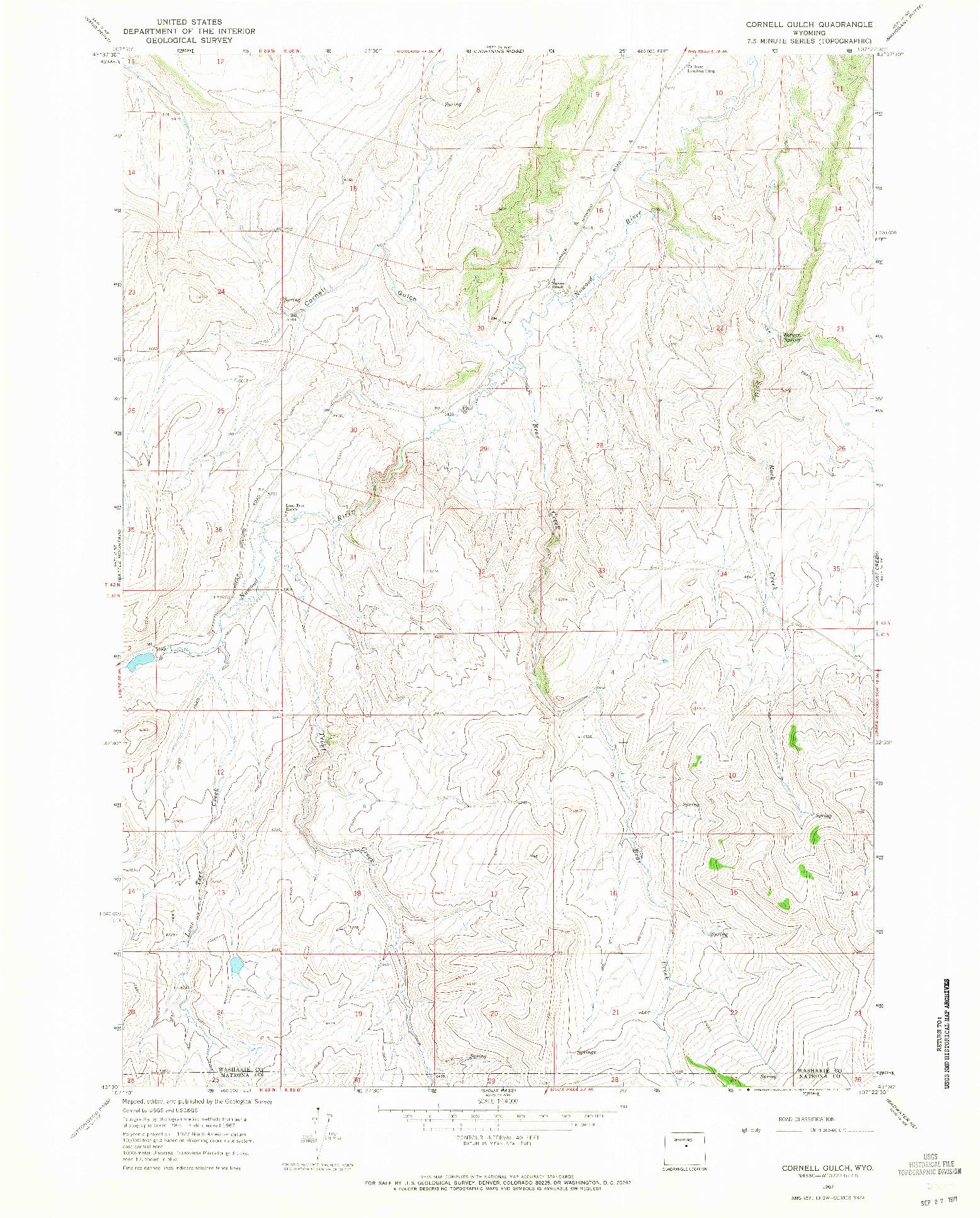 USGS 1:24000-SCALE QUADRANGLE FOR CORNELL GULCH, WY 1967
