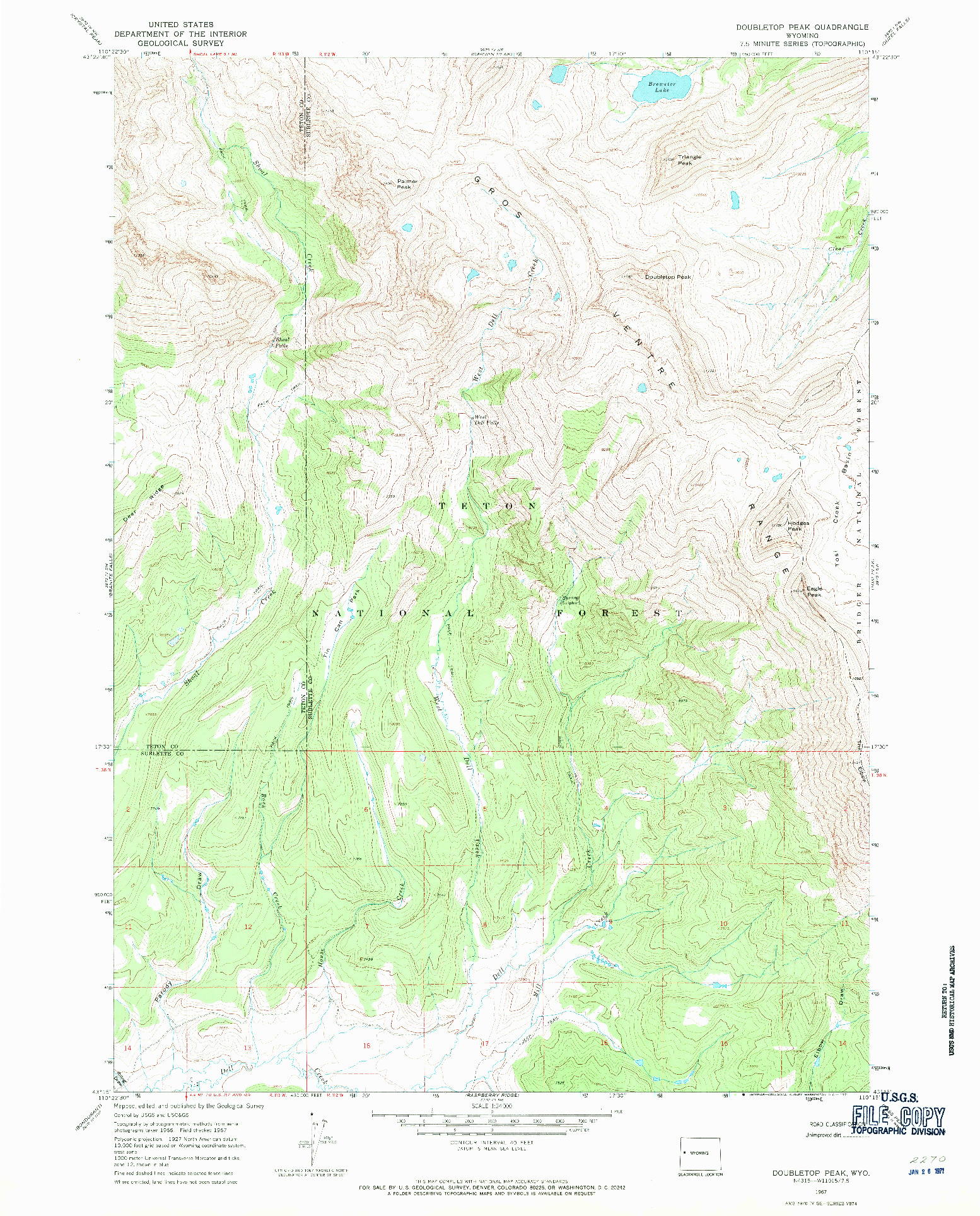USGS 1:24000-SCALE QUADRANGLE FOR DOUBLETOP PEAK, WY 1967