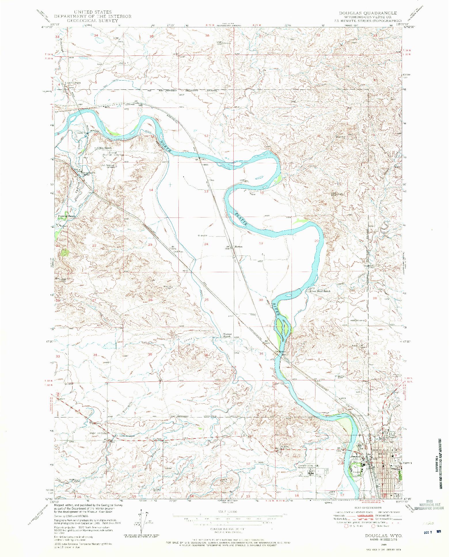 USGS 1:24000-SCALE QUADRANGLE FOR DOUGLAS, WY 1949