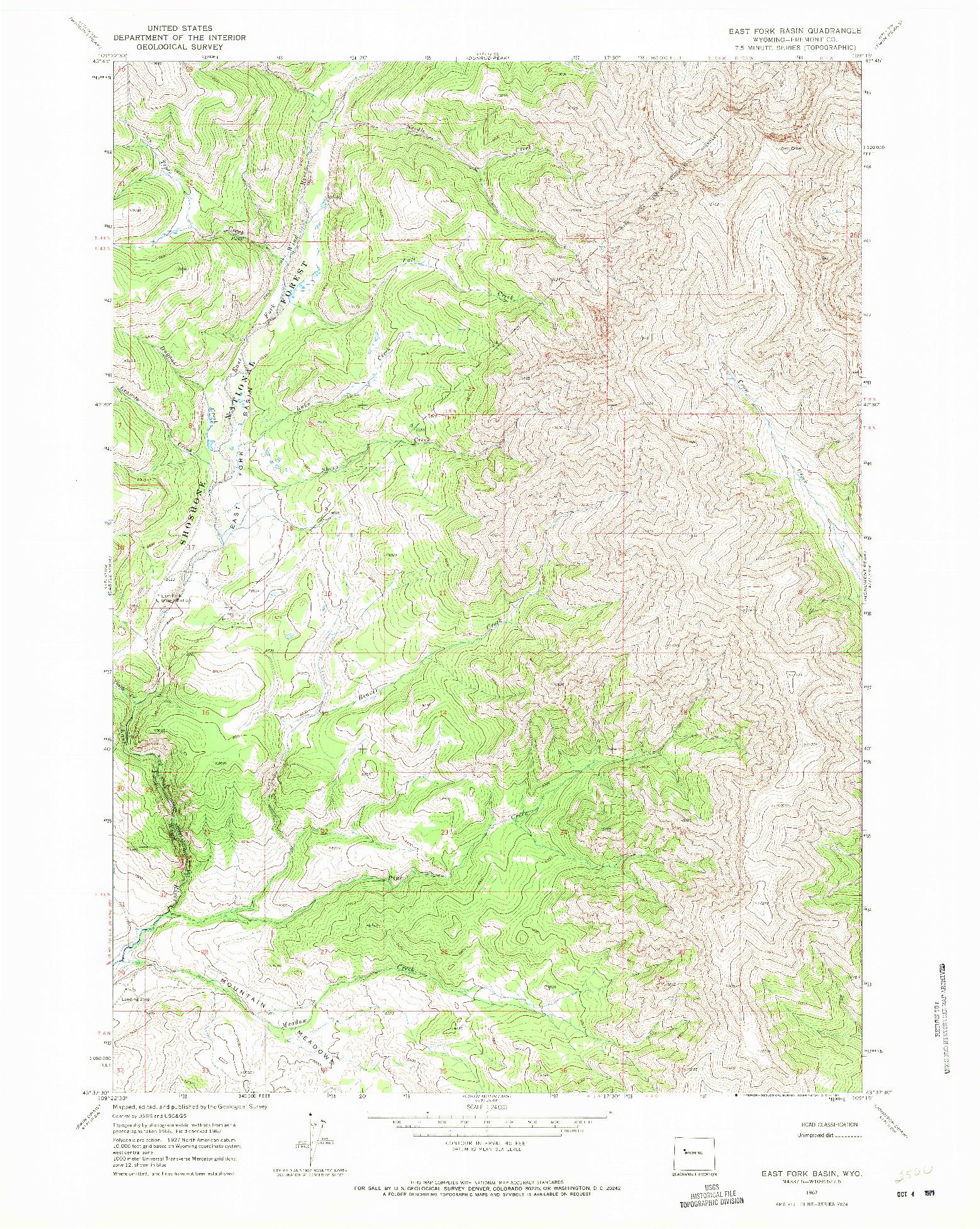 USGS 1:24000-SCALE QUADRANGLE FOR EAST FORK BASIN, WY 1967