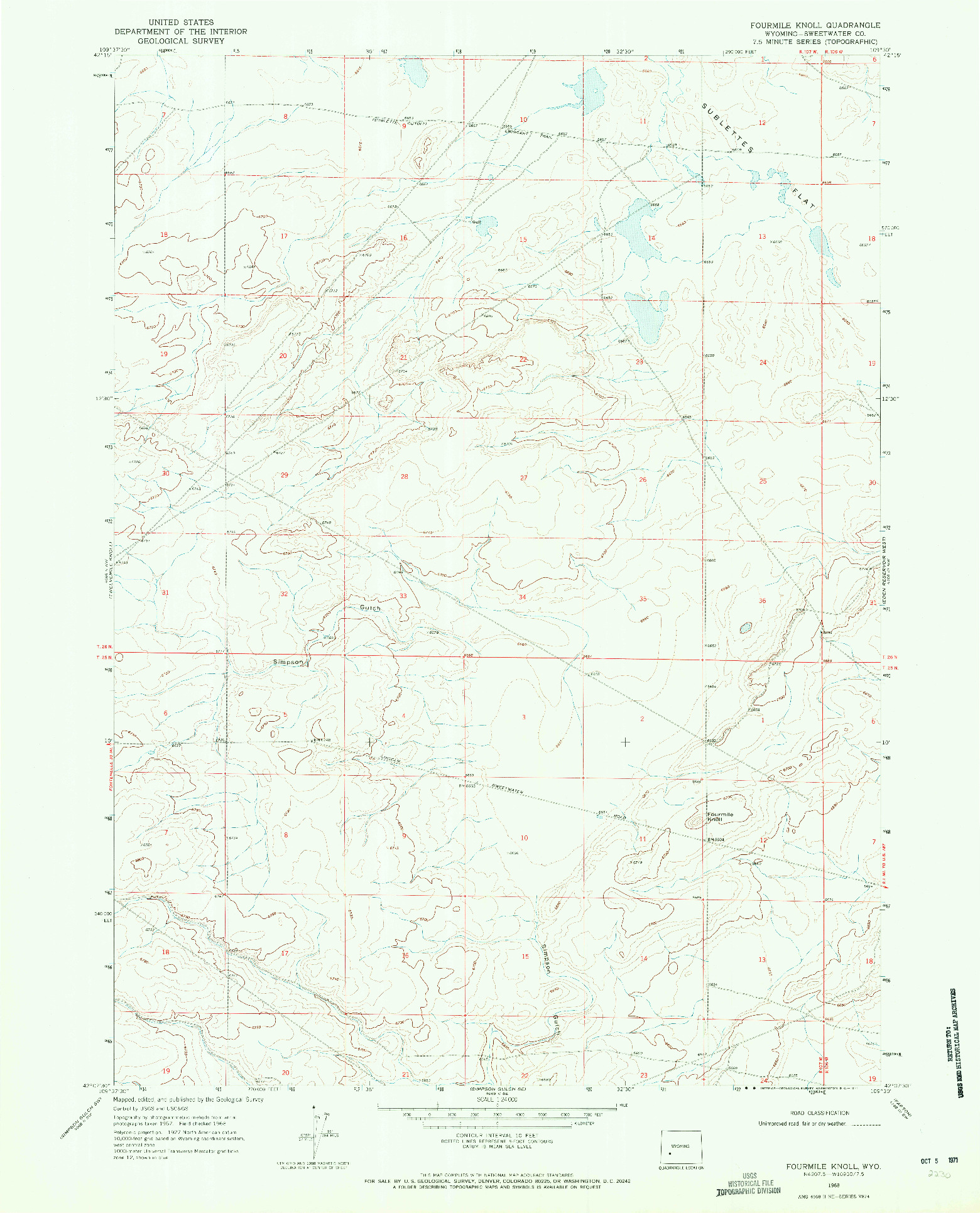 USGS 1:24000-SCALE QUADRANGLE FOR FOURMILE KNOLL, WY 1968