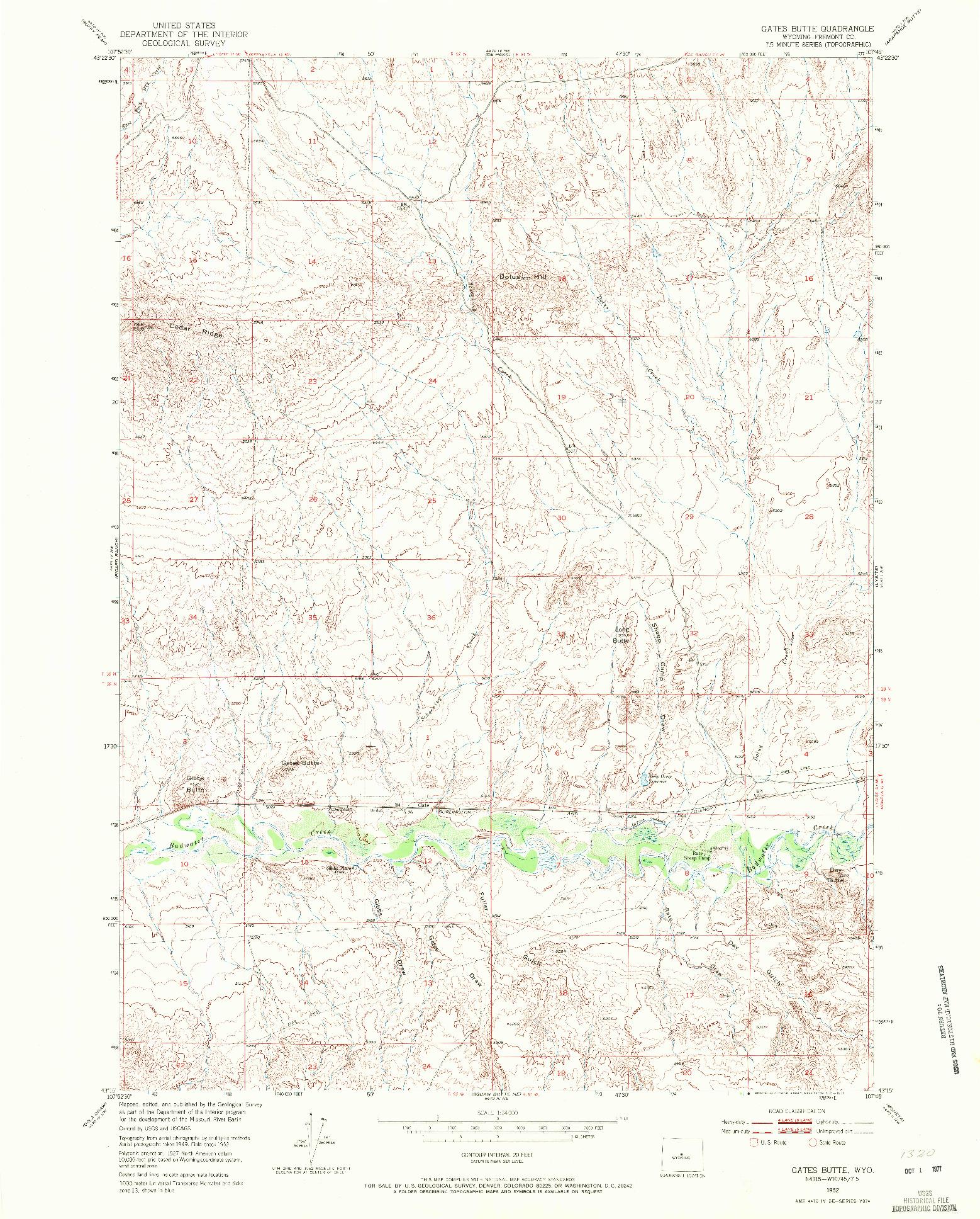 USGS 1:24000-SCALE QUADRANGLE FOR GATES BUTTE, WY 1952