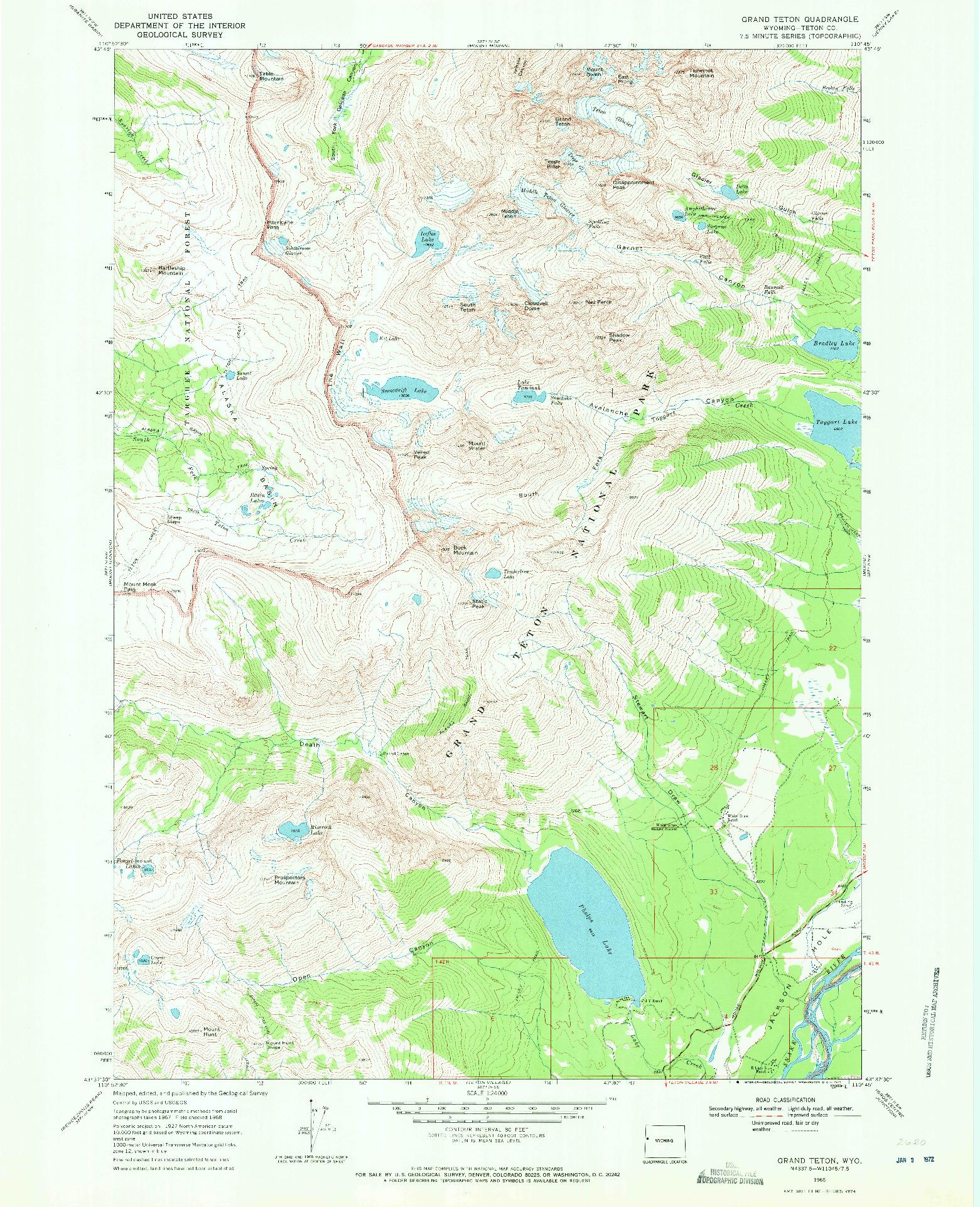 USGS 1:24000-SCALE QUADRANGLE FOR GRAND TETON, WY 1968