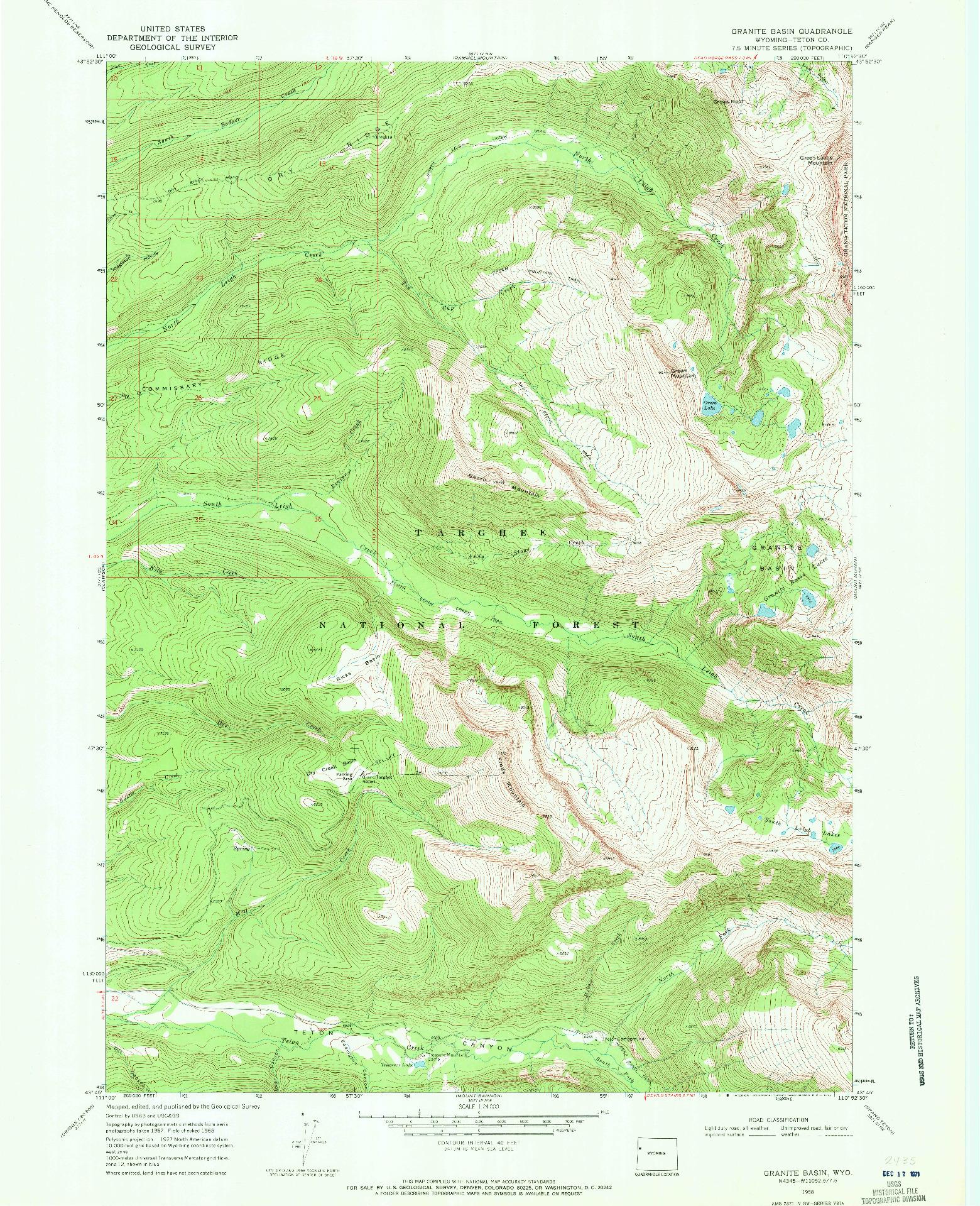 USGS 1:24000-SCALE QUADRANGLE FOR GRANITE BASIN, WY 1968