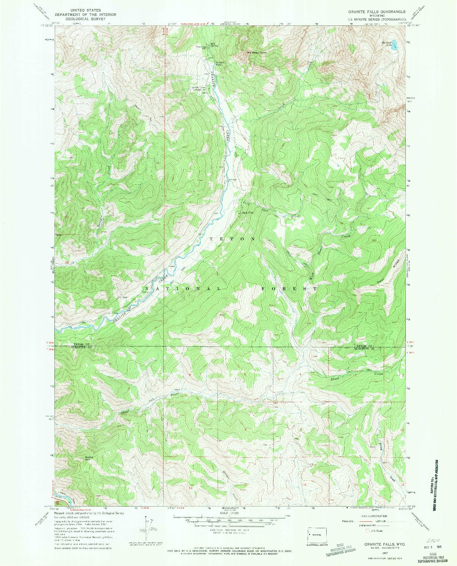 USGS 1:24000-SCALE QUADRANGLE FOR GRANITE FALLS, WY 1967