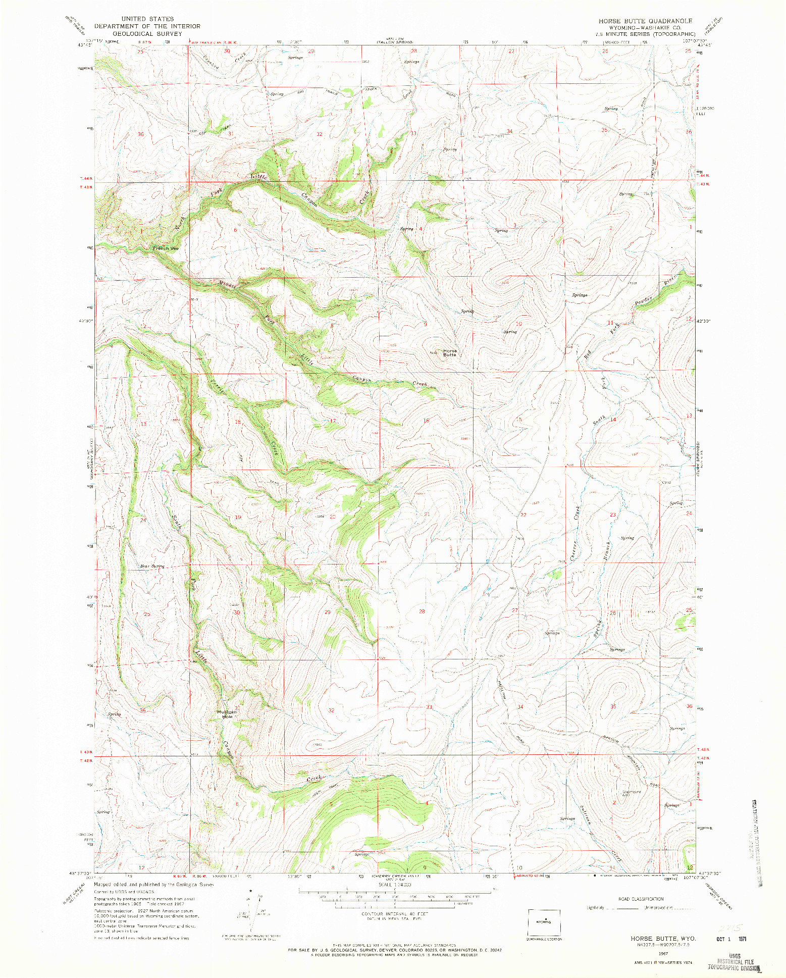 USGS 1:24000-SCALE QUADRANGLE FOR HORSE BUTTE, WY 1967