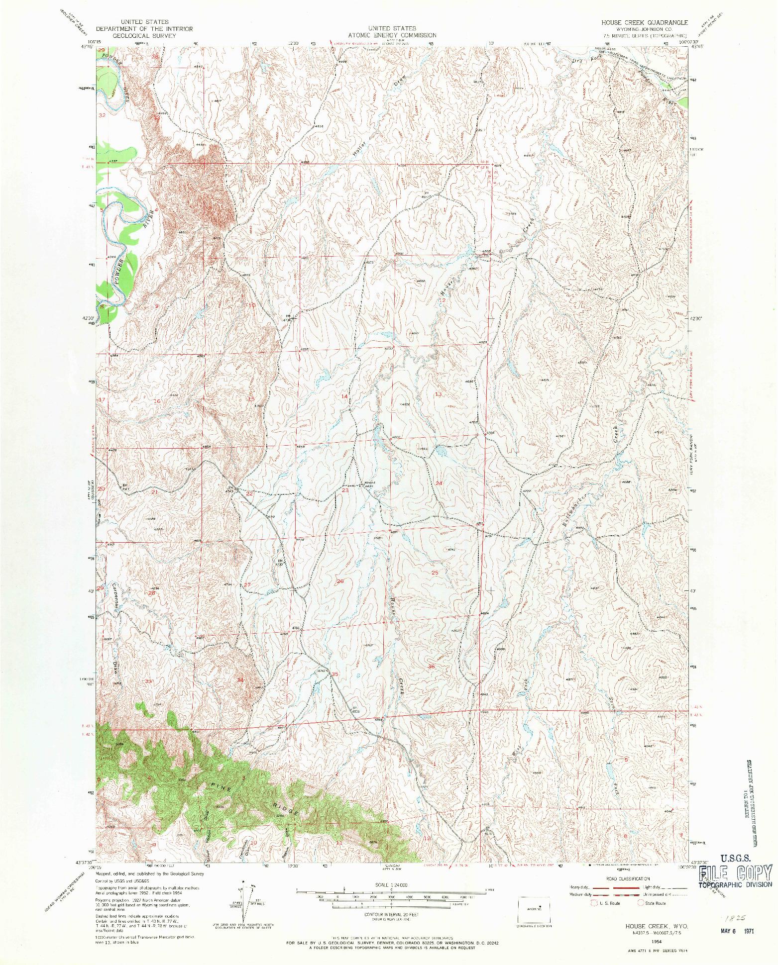 USGS 1:24000-SCALE QUADRANGLE FOR HOUSE CREEK, WY 1954