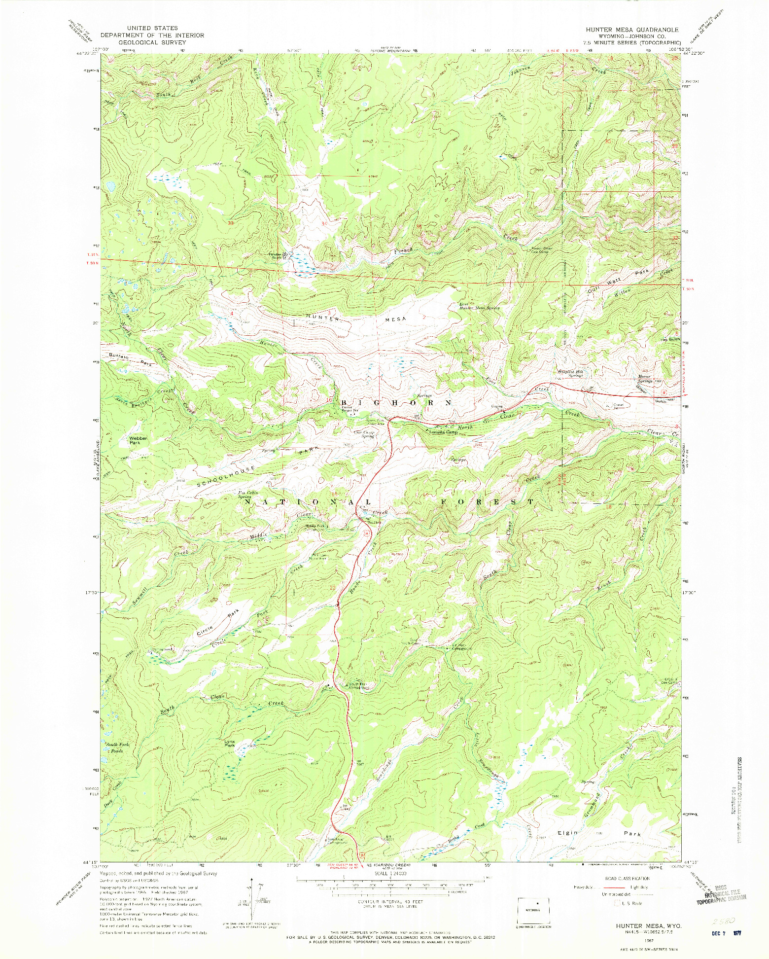 USGS 1:24000-SCALE QUADRANGLE FOR HUNTER MESA, WY 1967