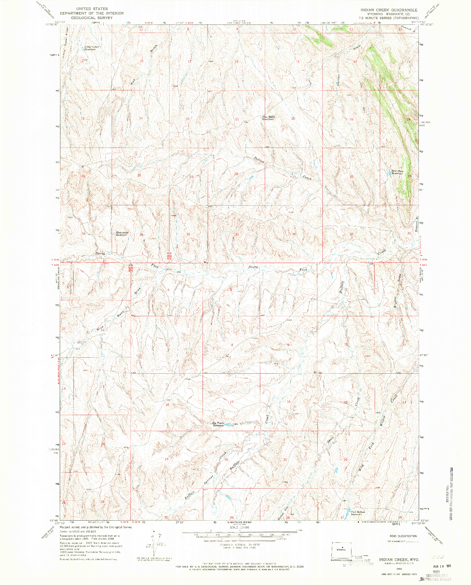 USGS 1:24000-SCALE QUADRANGLE FOR INDIAN CREEK, WY 1966