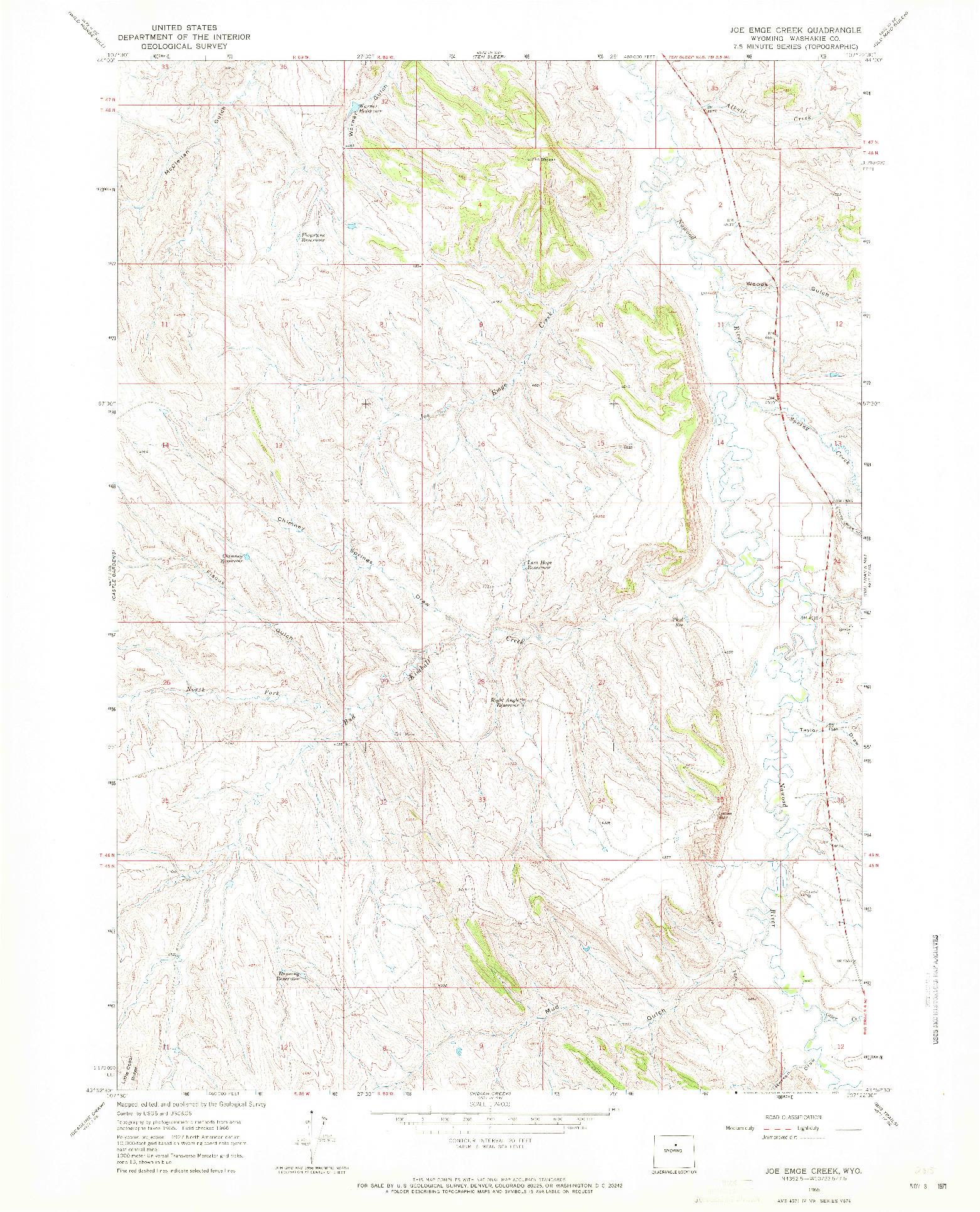 USGS 1:24000-SCALE QUADRANGLE FOR JOE EMGE CREEK, WY 1966
