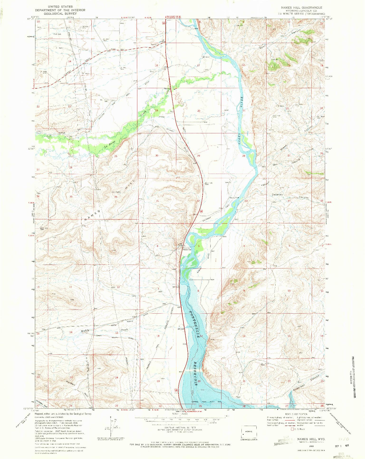 USGS 1:24000-SCALE QUADRANGLE FOR NAMES HILL, WY 1968