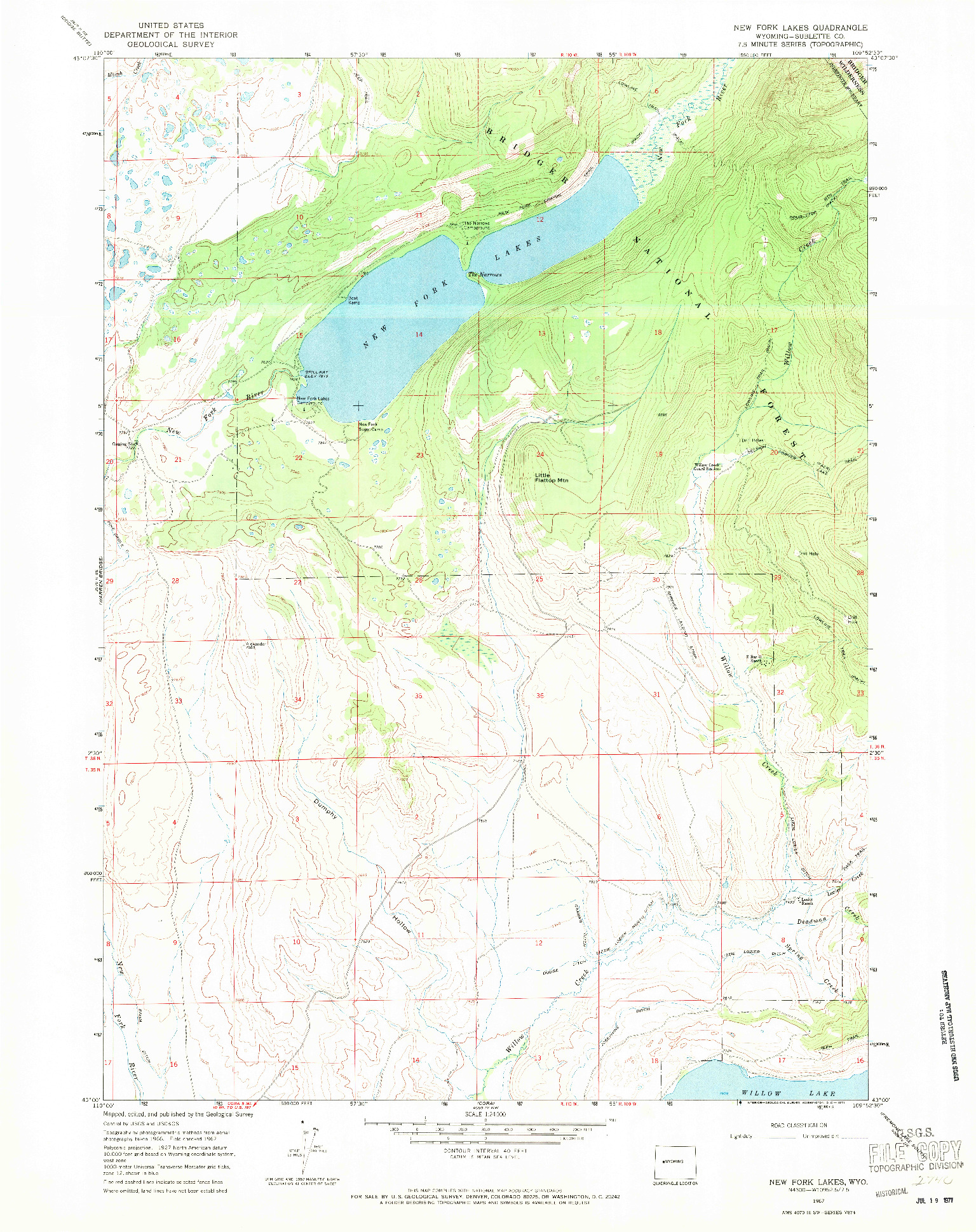 USGS 1:24000-SCALE QUADRANGLE FOR NEW FORK LAKES, WY 1967