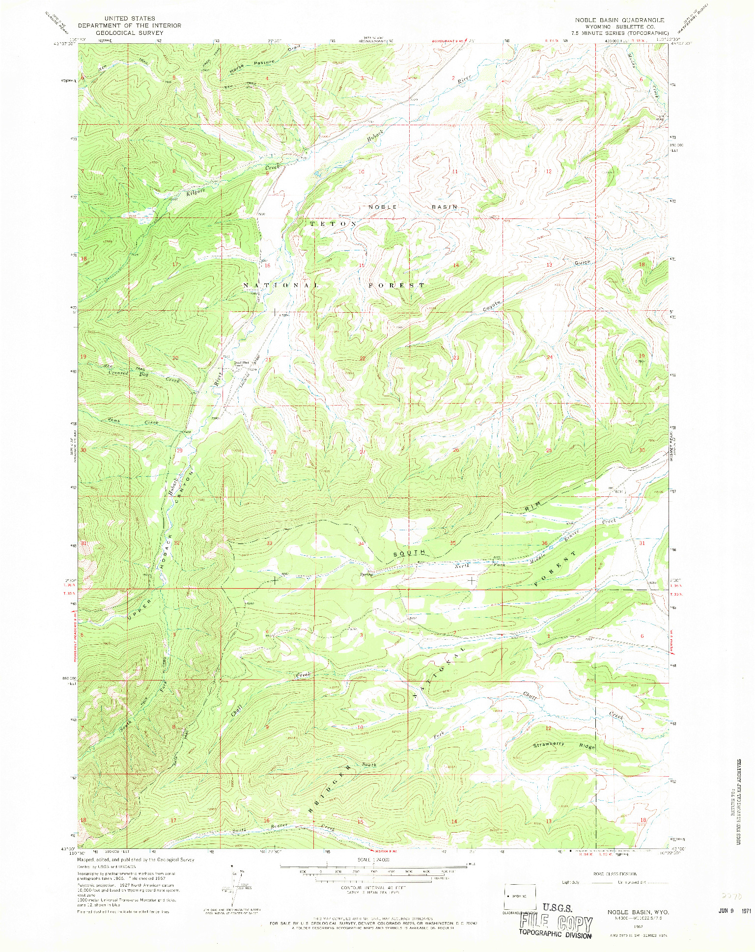 USGS 1:24000-SCALE QUADRANGLE FOR NOBLE BASIN, WY 1967