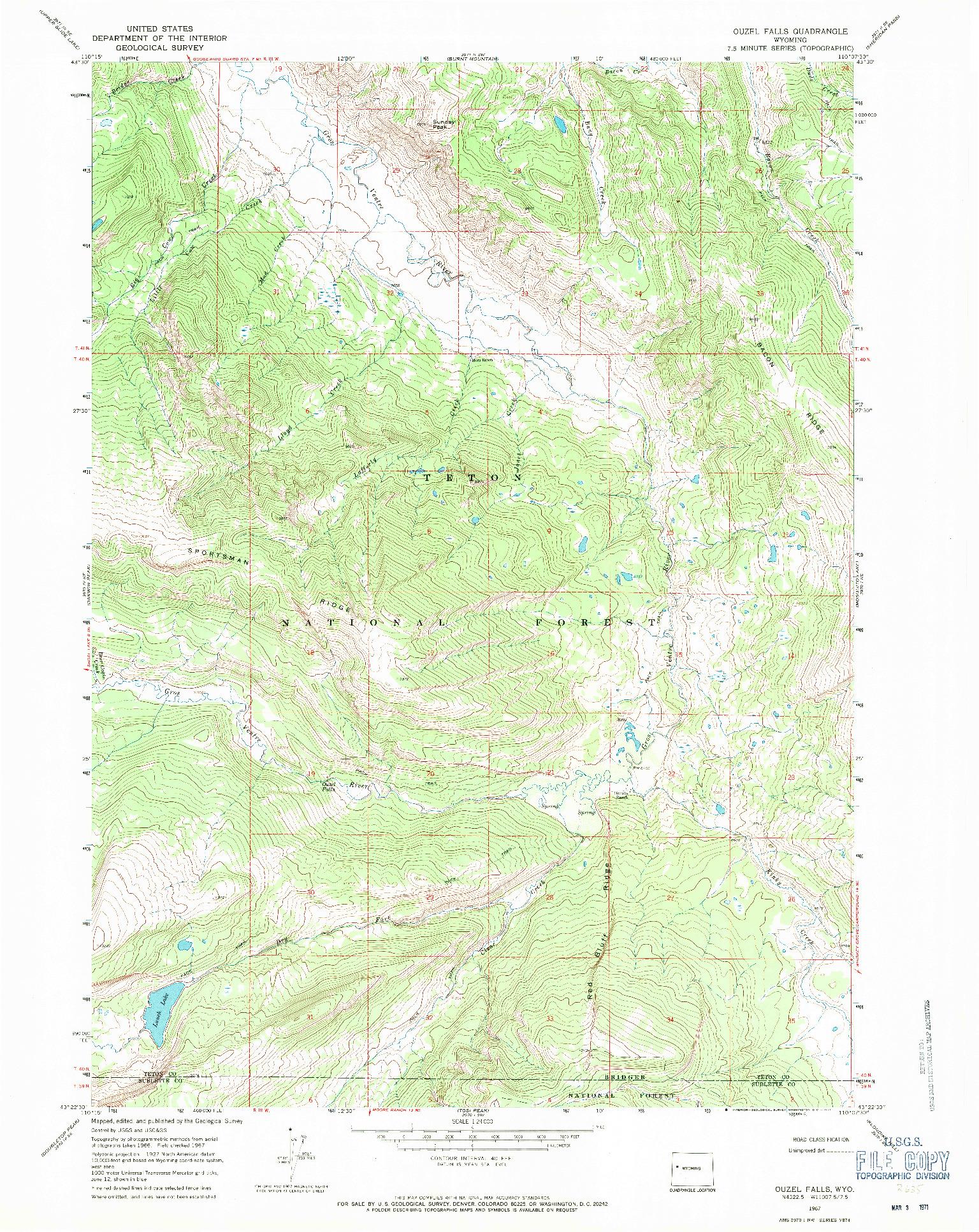 USGS 1:24000-SCALE QUADRANGLE FOR OUZEL FALLS, WY 1967